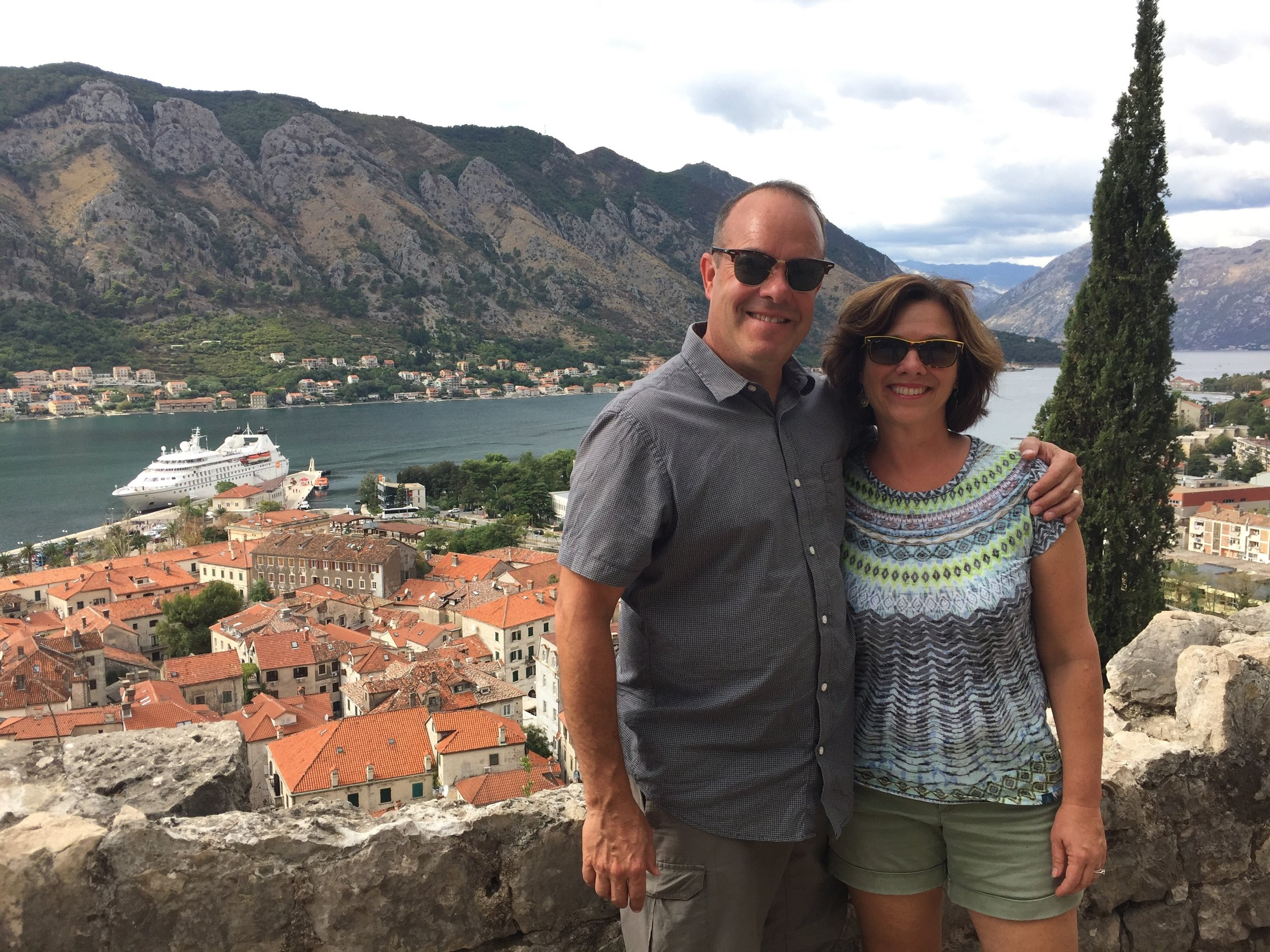 From atop Kotor, Montenegro with the Viking Sun in the bay