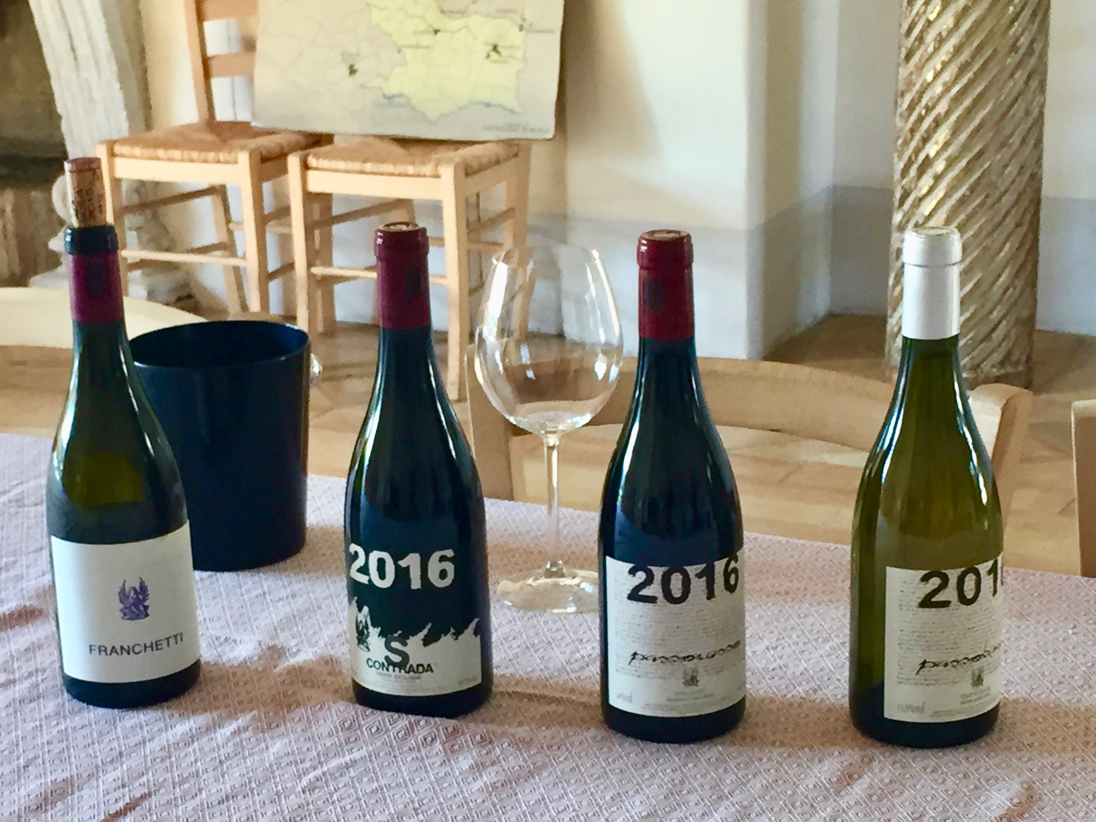 The wines from our tasting at Franchetti on Etna, Sicily