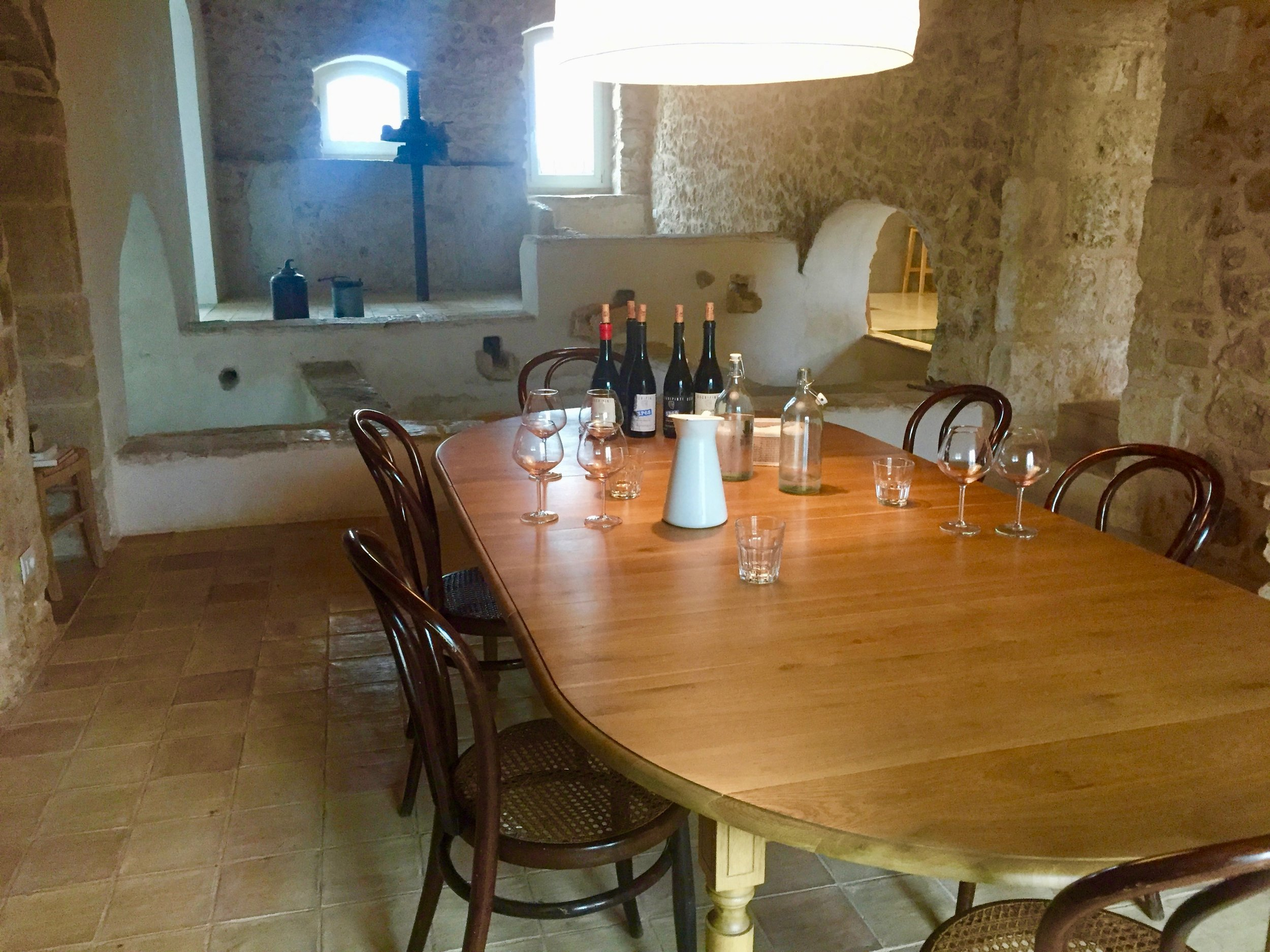 The Occhipinti tasting room is in a beautifully renovated antique press room