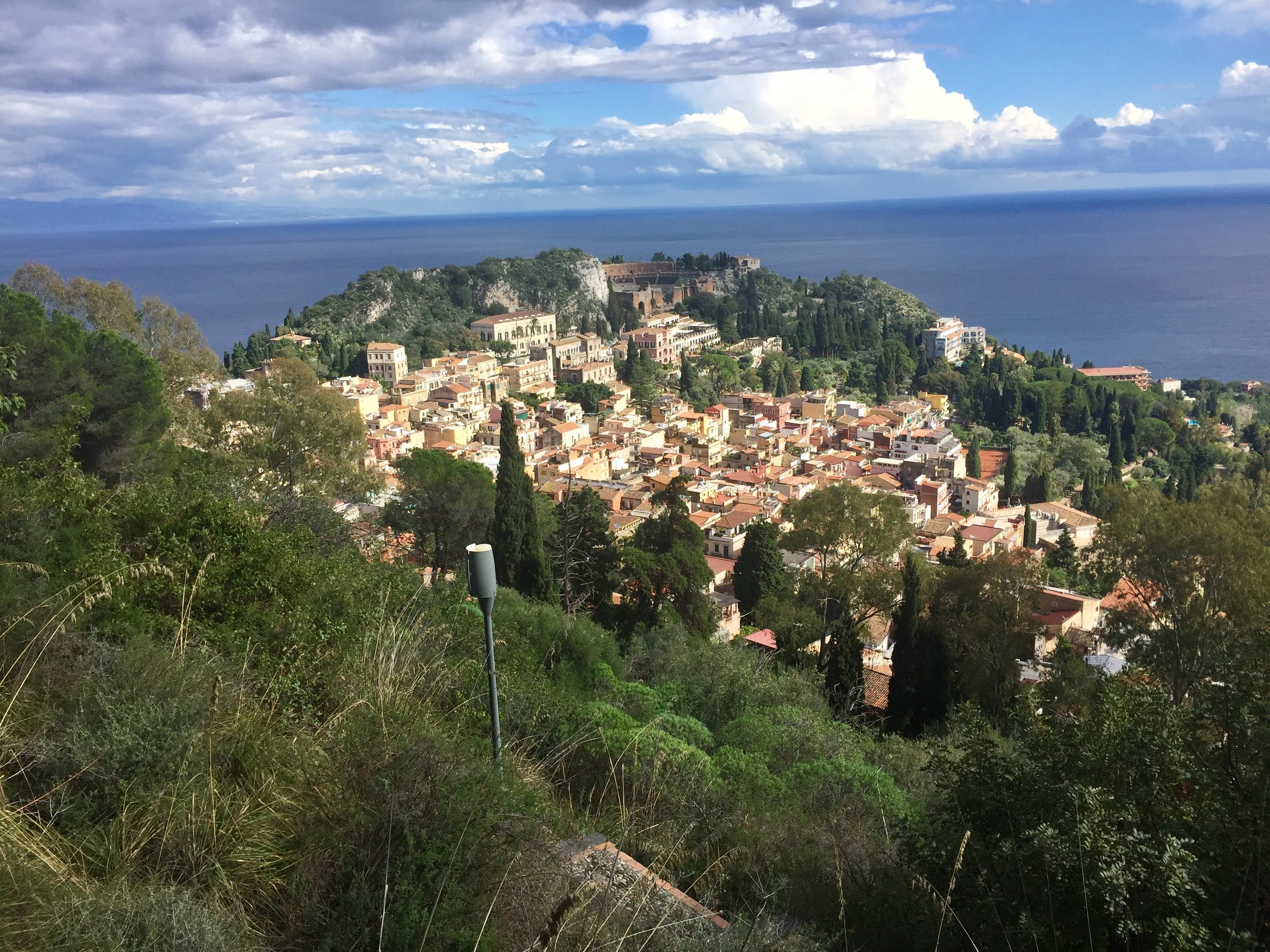 A view of Taormina on our hike to Castelmola.