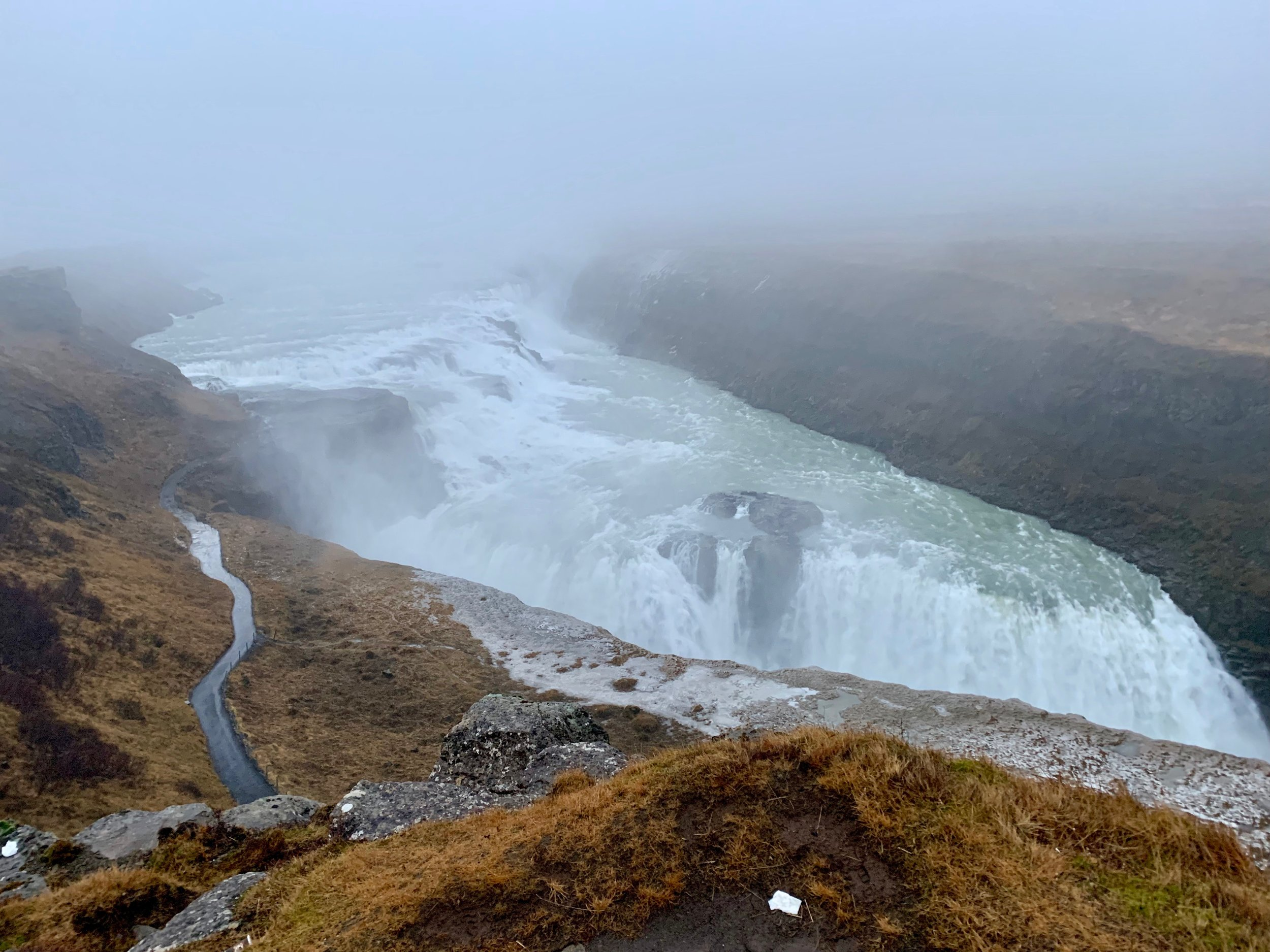 The stunning Gullfoss on a foggy day