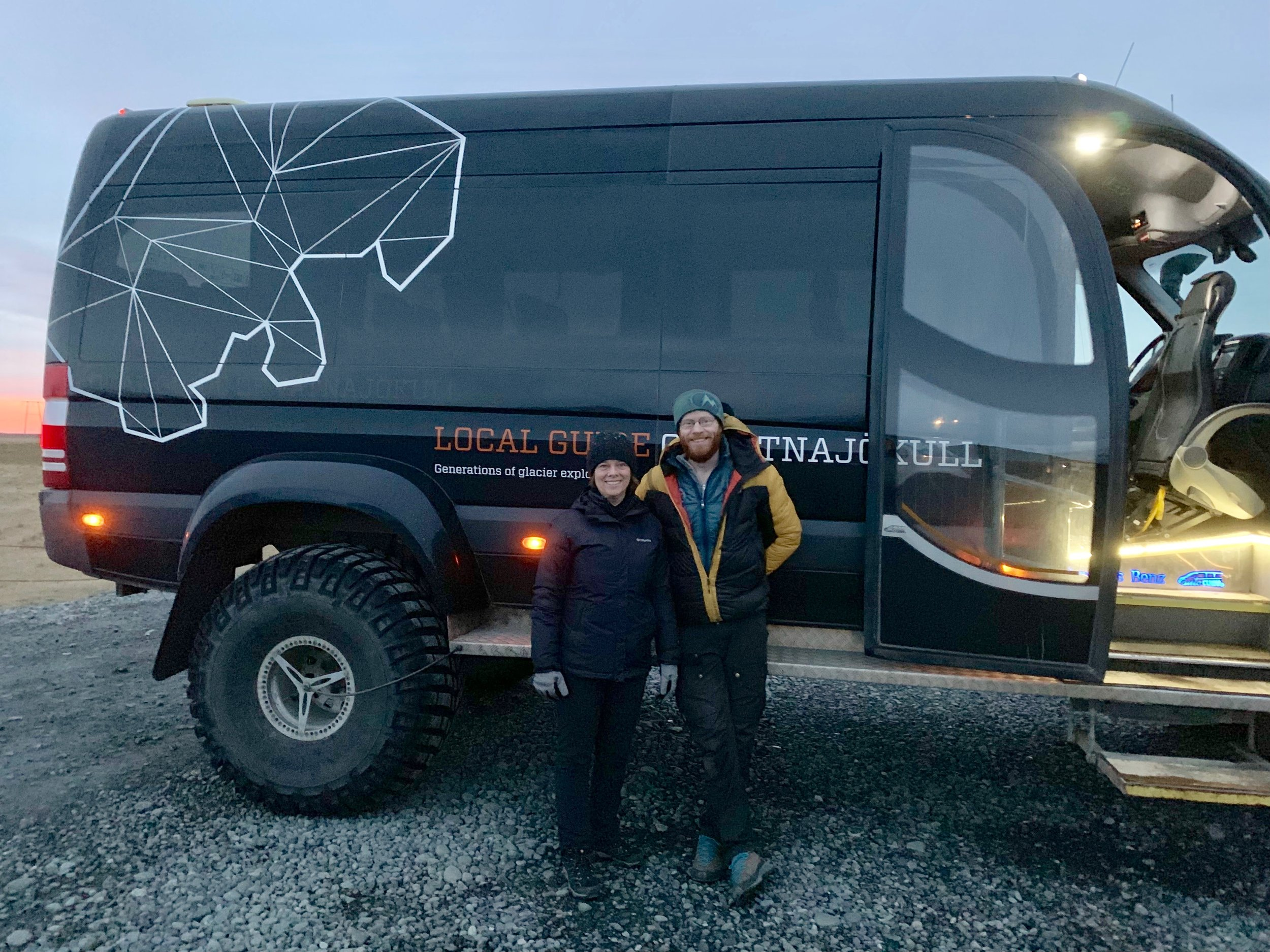 Betsy with our guide Siggi and the glacier truck!