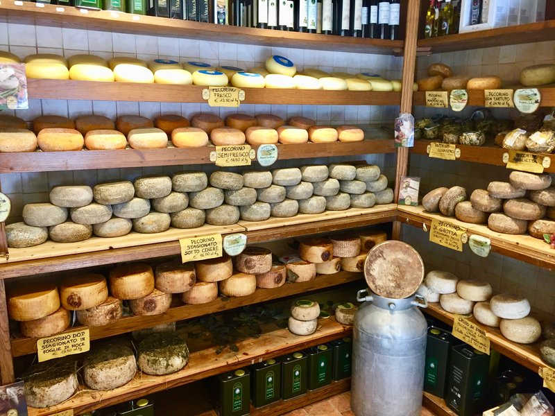 Some of the famous Pecorino cheese in Pienza
