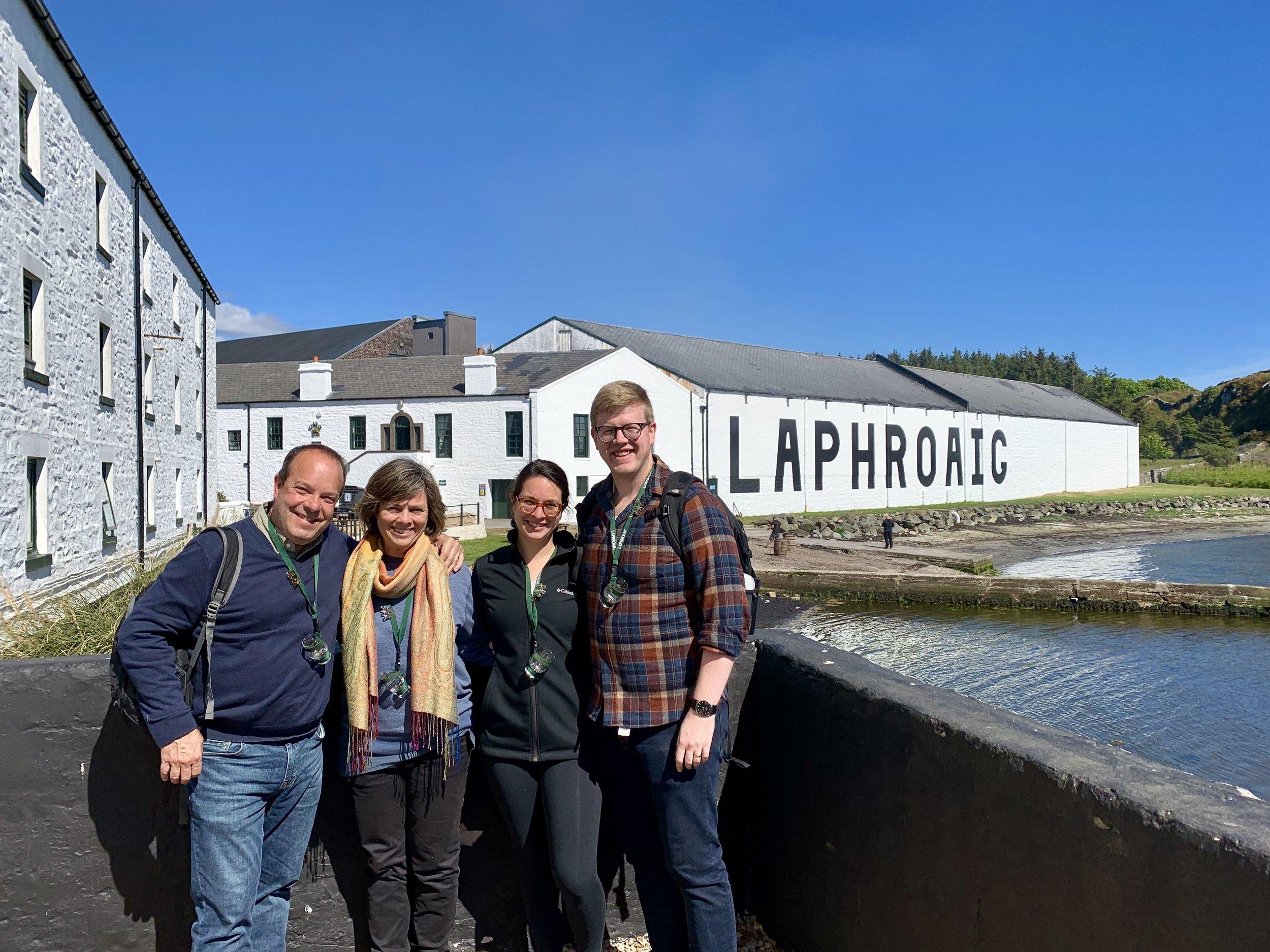 The Euro Travel Coach Team (plus Sam!) in front of Laphroaig