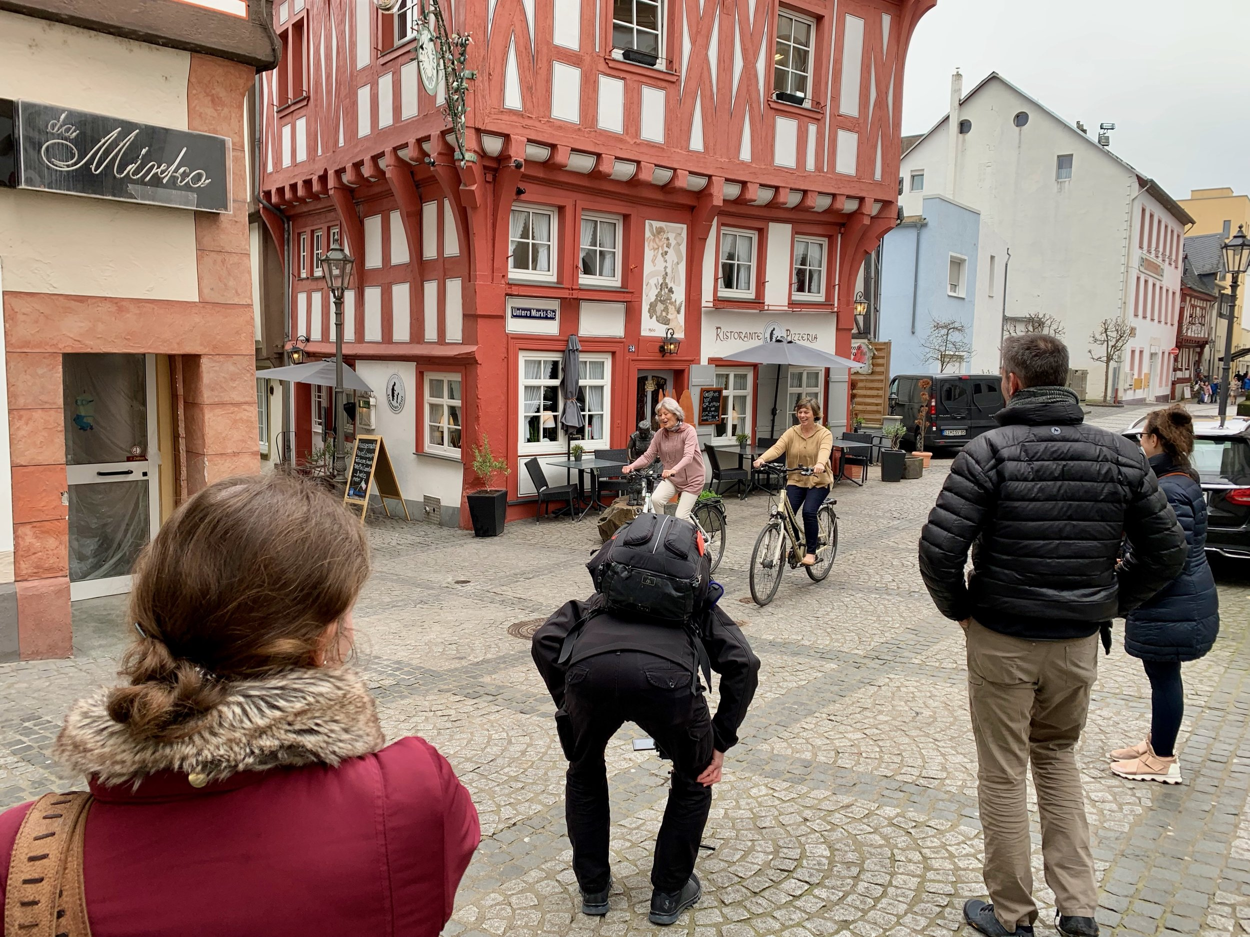 Betty and Betsy during the bicycle shoot in Boppard, Germany