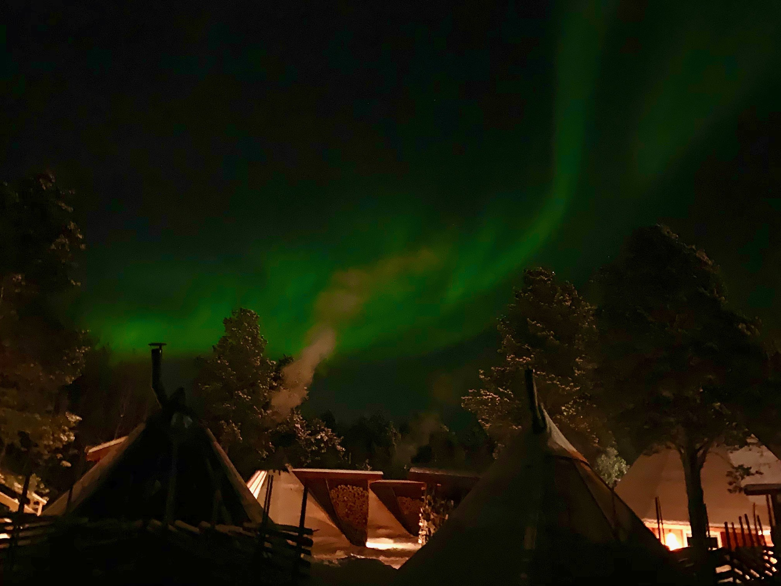 Northen lights at the Husky farm