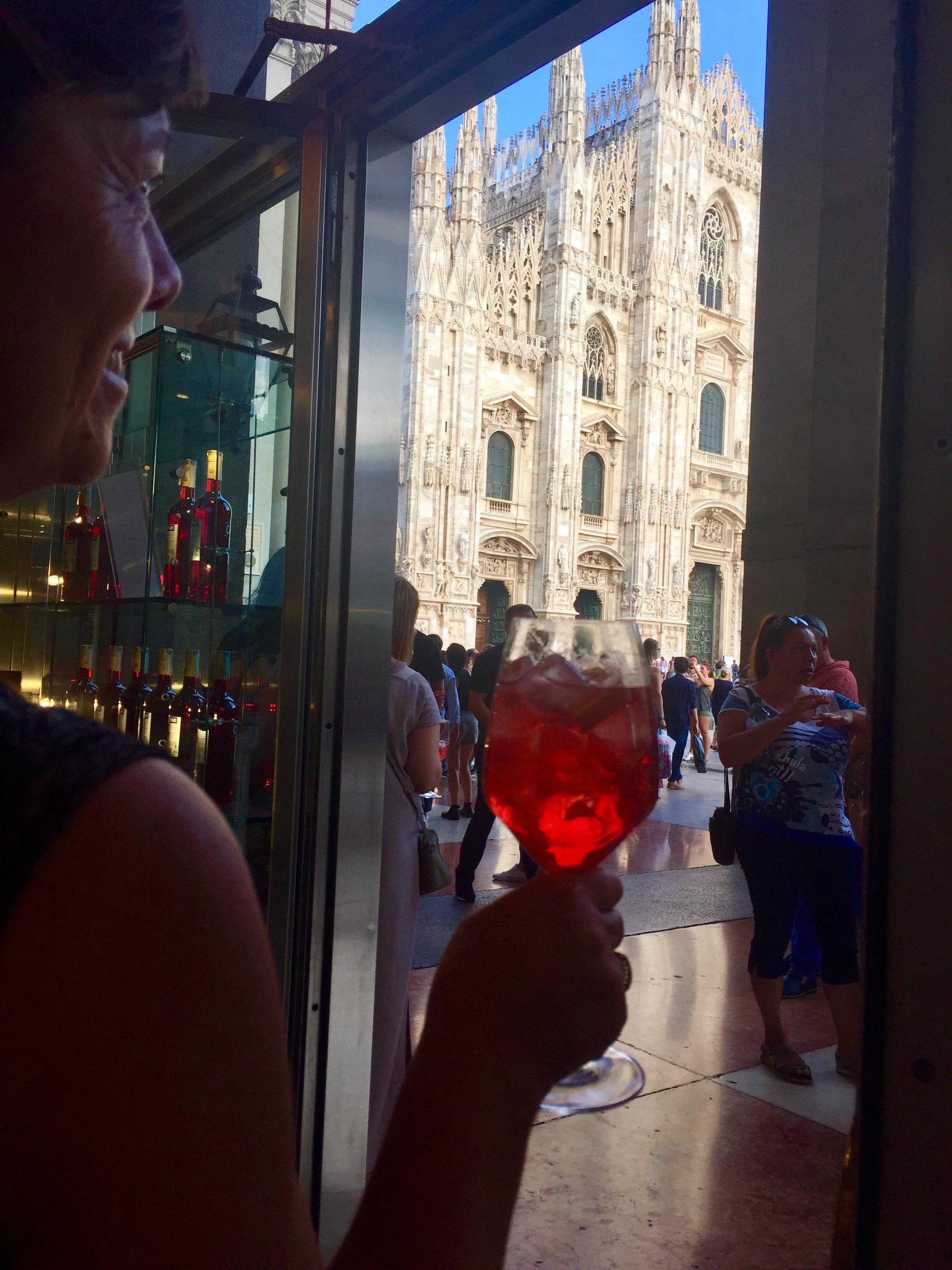 Enjoying a Campari Spritz by the Piazza del Duomo in Milan