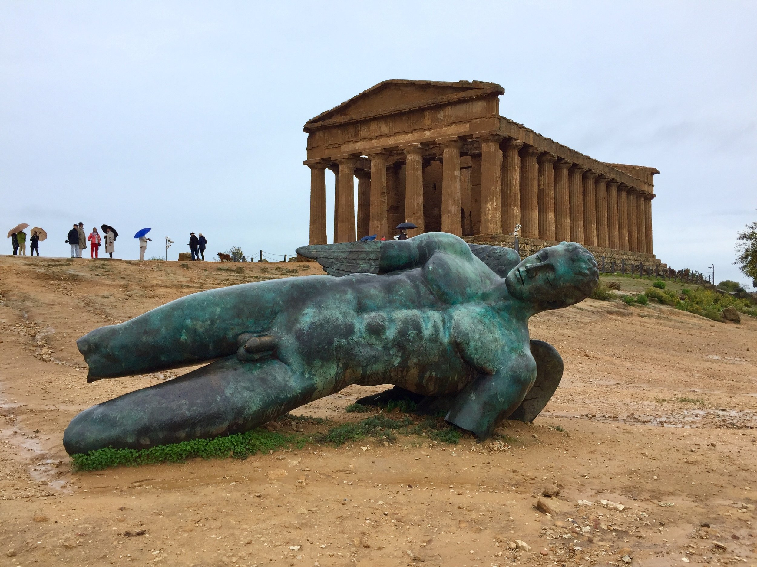One of the many Greek building still standing in the Valley of the Temples, Agrigento, Sicily, Italy,