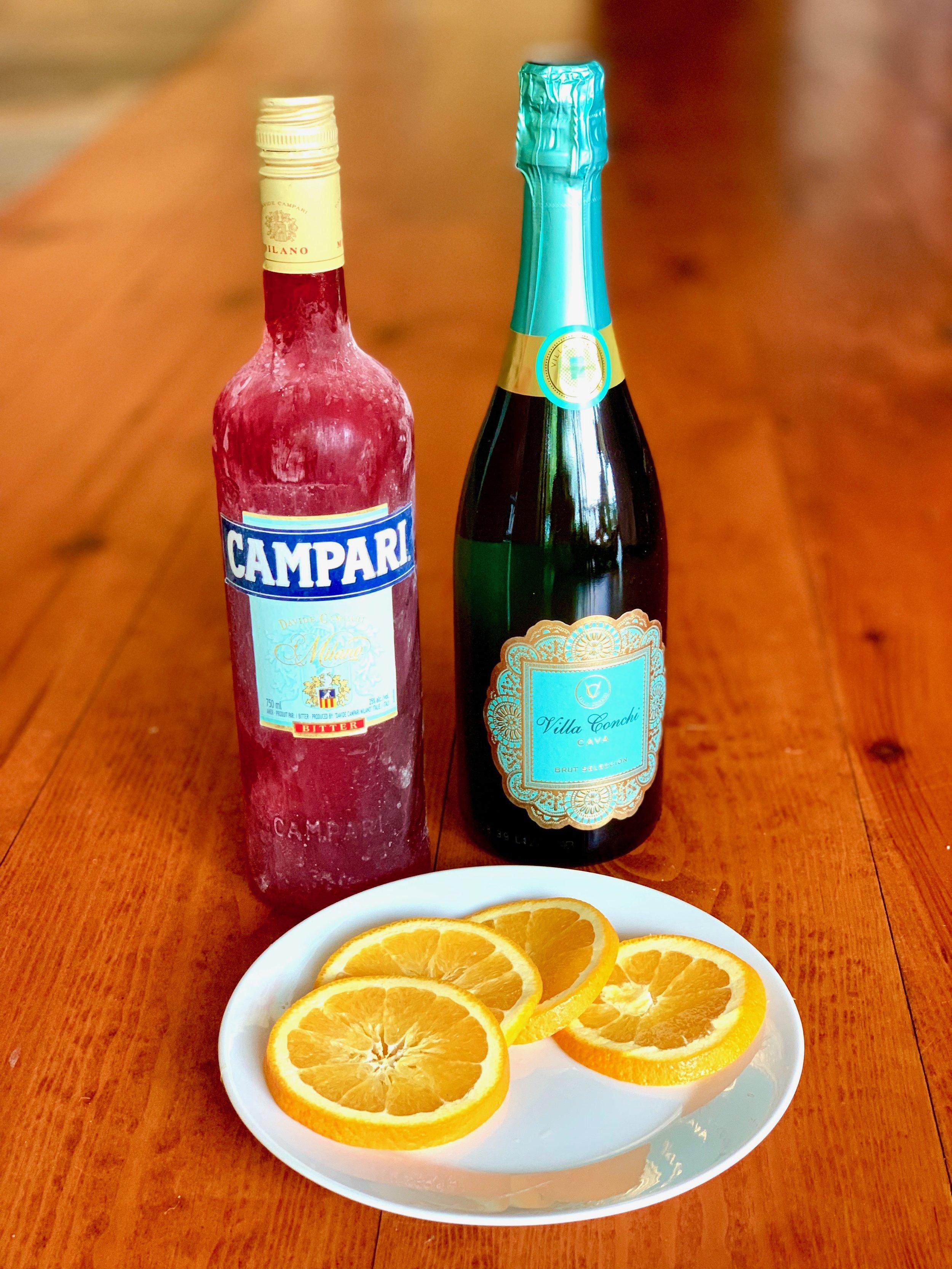 Simple ingredients for a Campari Spritz