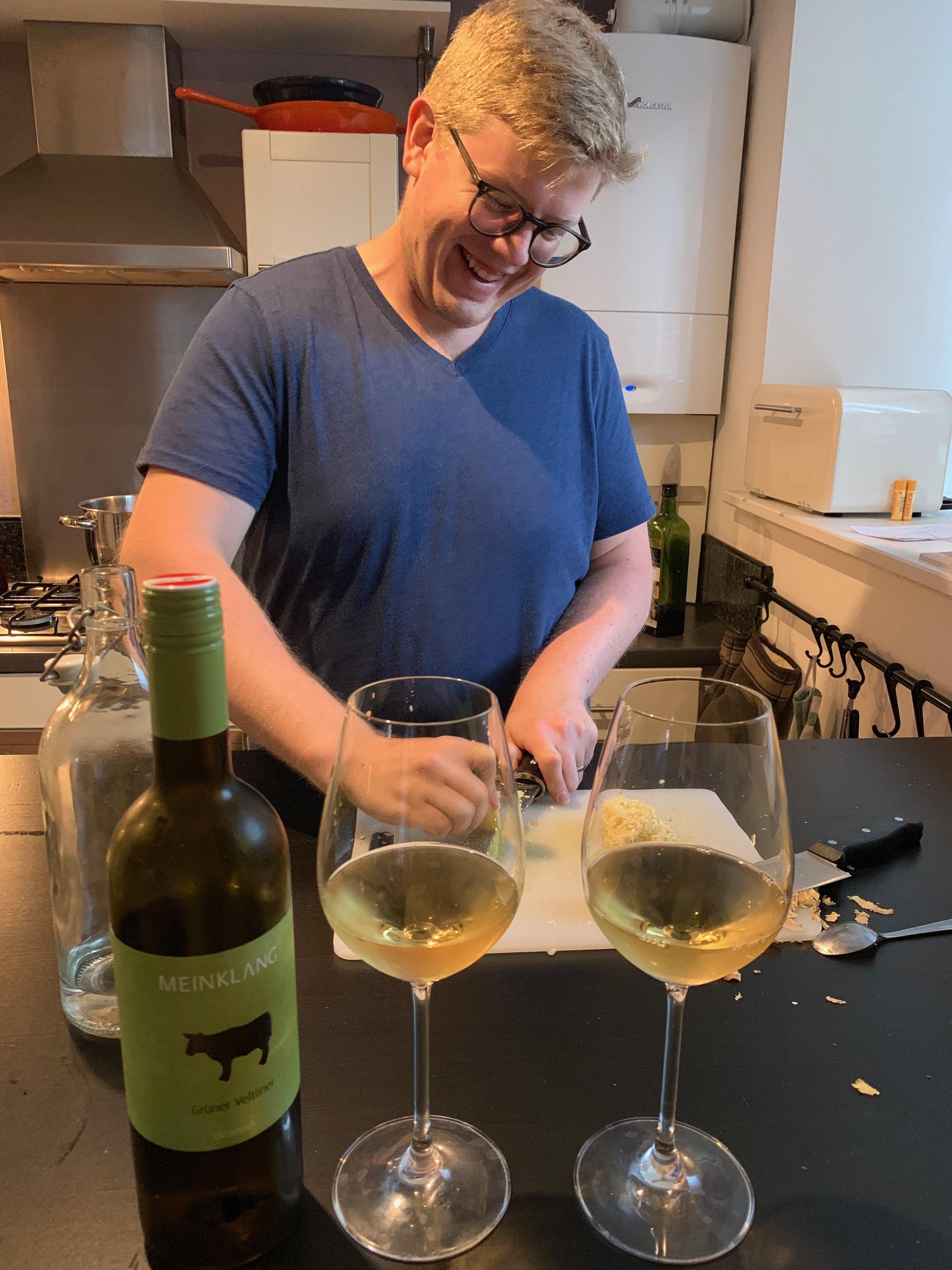 Sam cheerfully grating ginger for the Venetian Vongole e Cozze