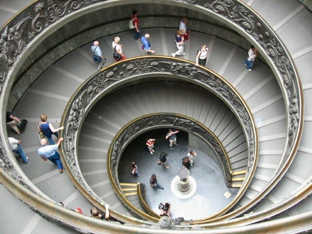 Famous spiral staircase in the Vatican Museum