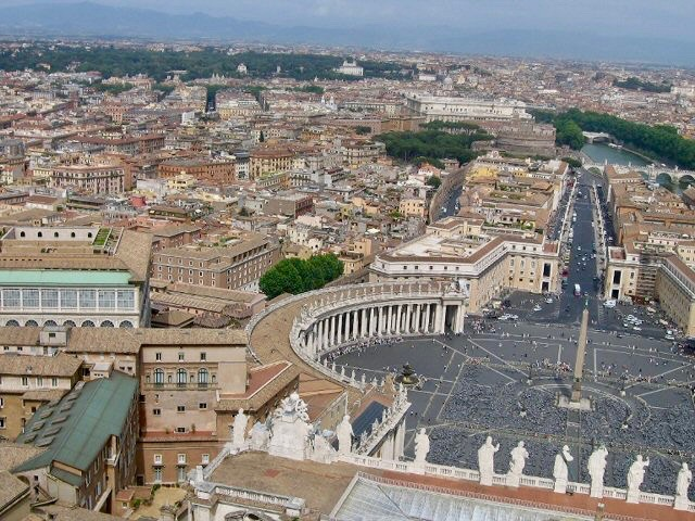 Beautiful views of Rome from the top of St. Peter's Basilica