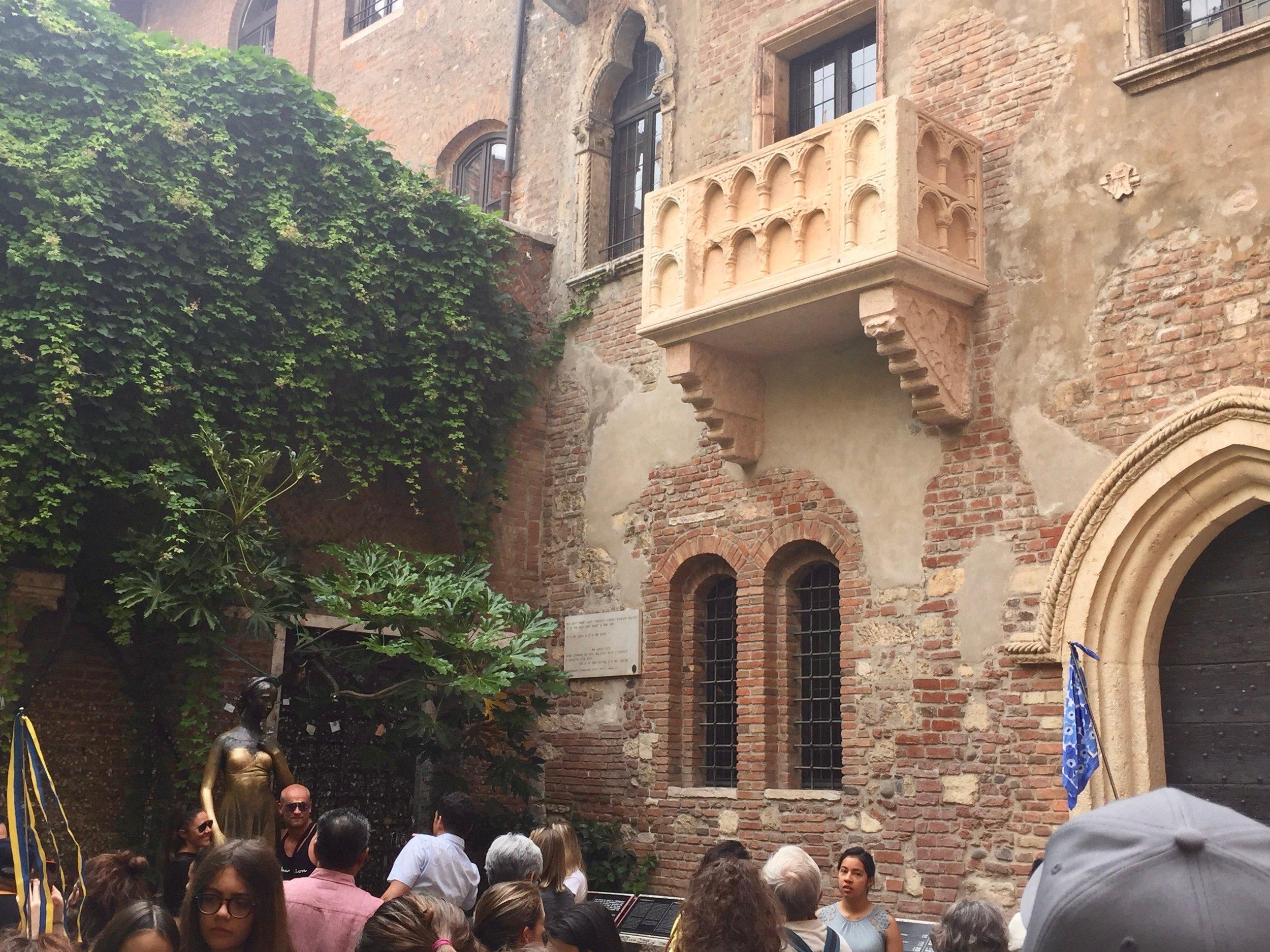 Juliet's balcony in Verona is a tucked away romantic location