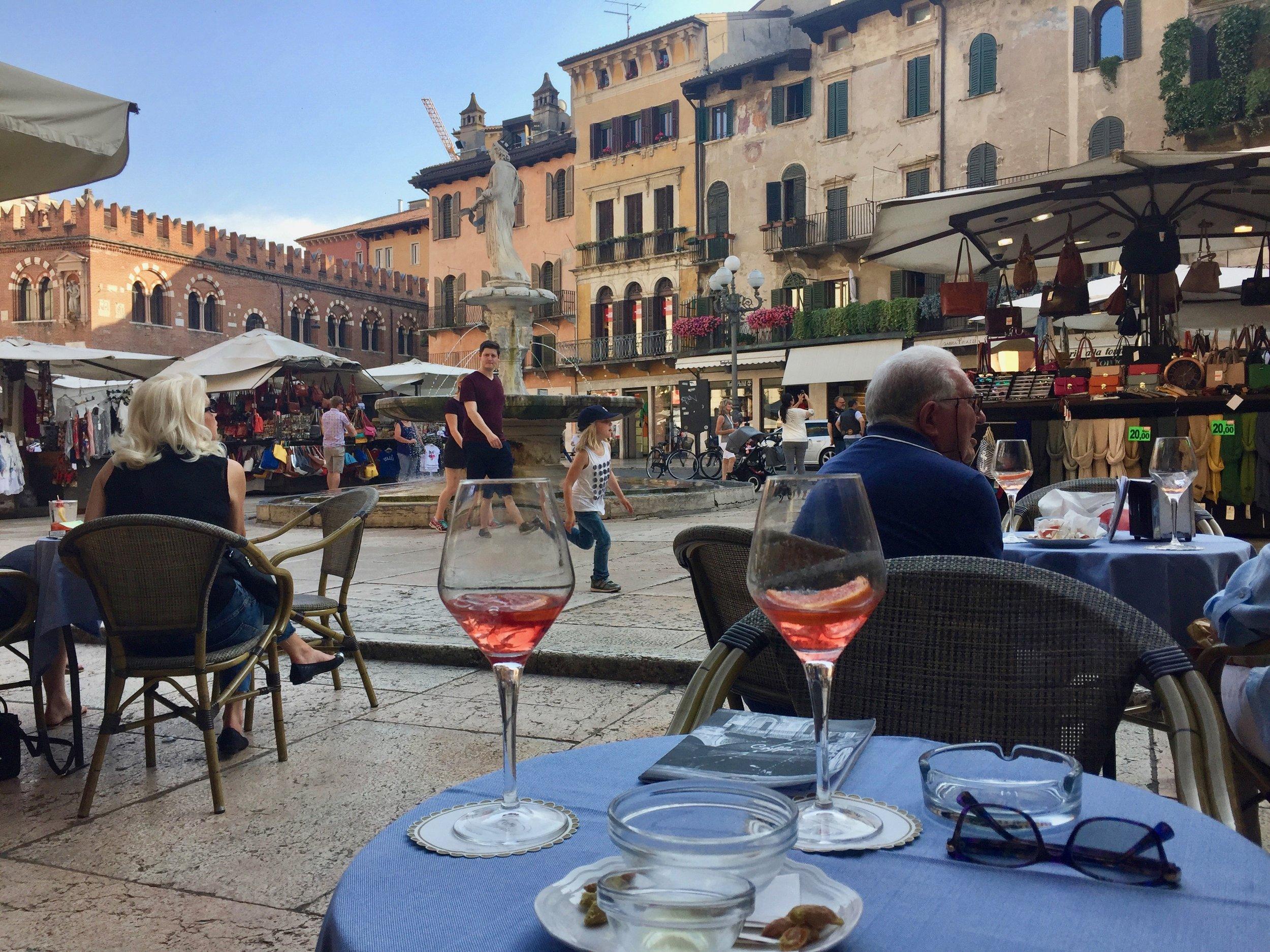 Spritzes in the Piazza della Erbe - not too shabby!
