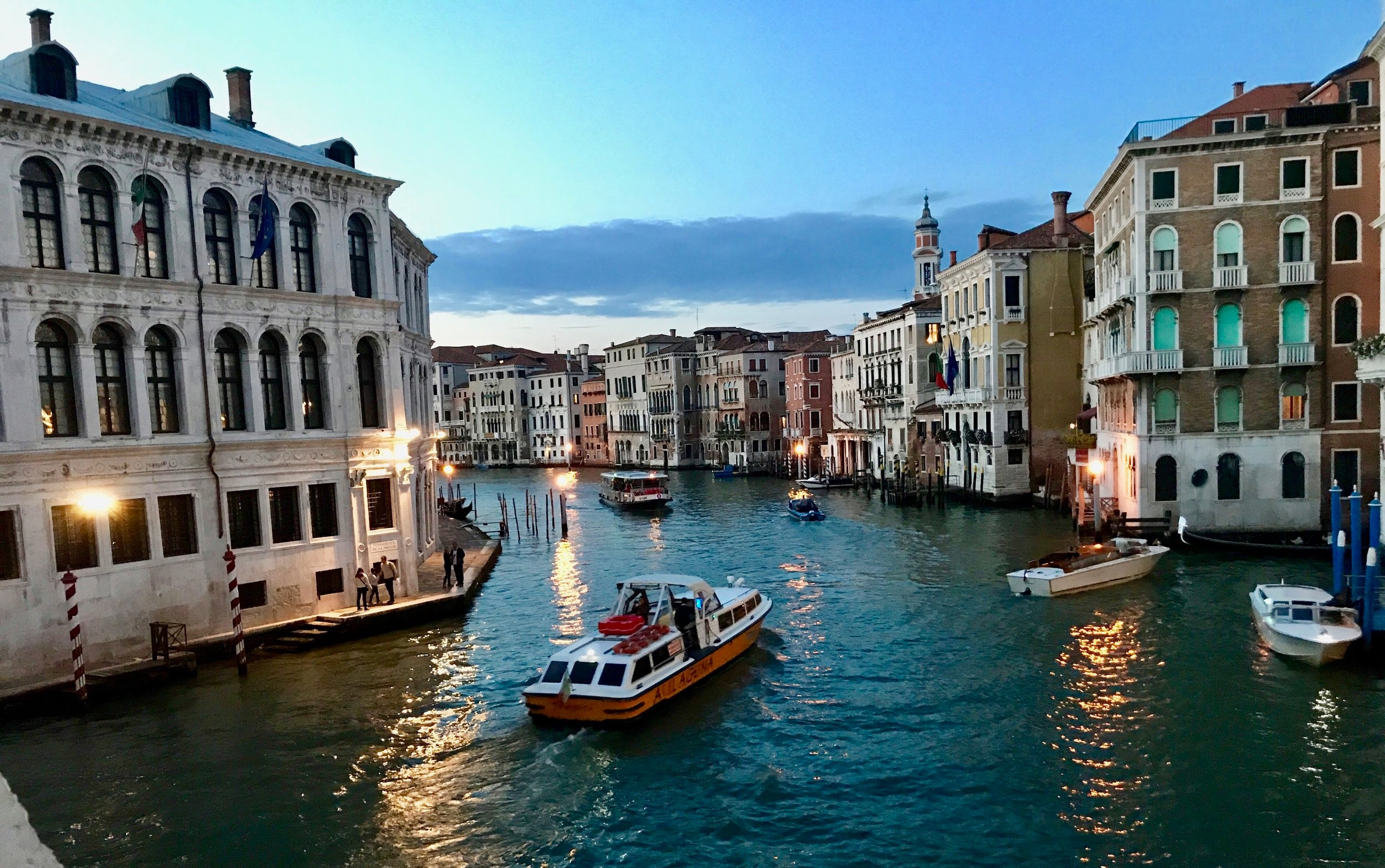 The Grand Canal in Venice at dusk