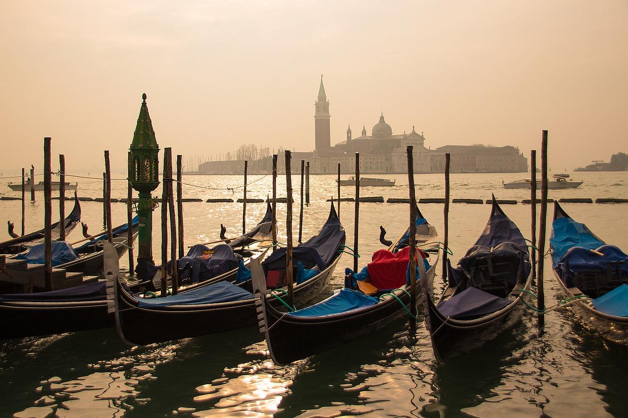 Gondolas in the morning in Venice, Italy