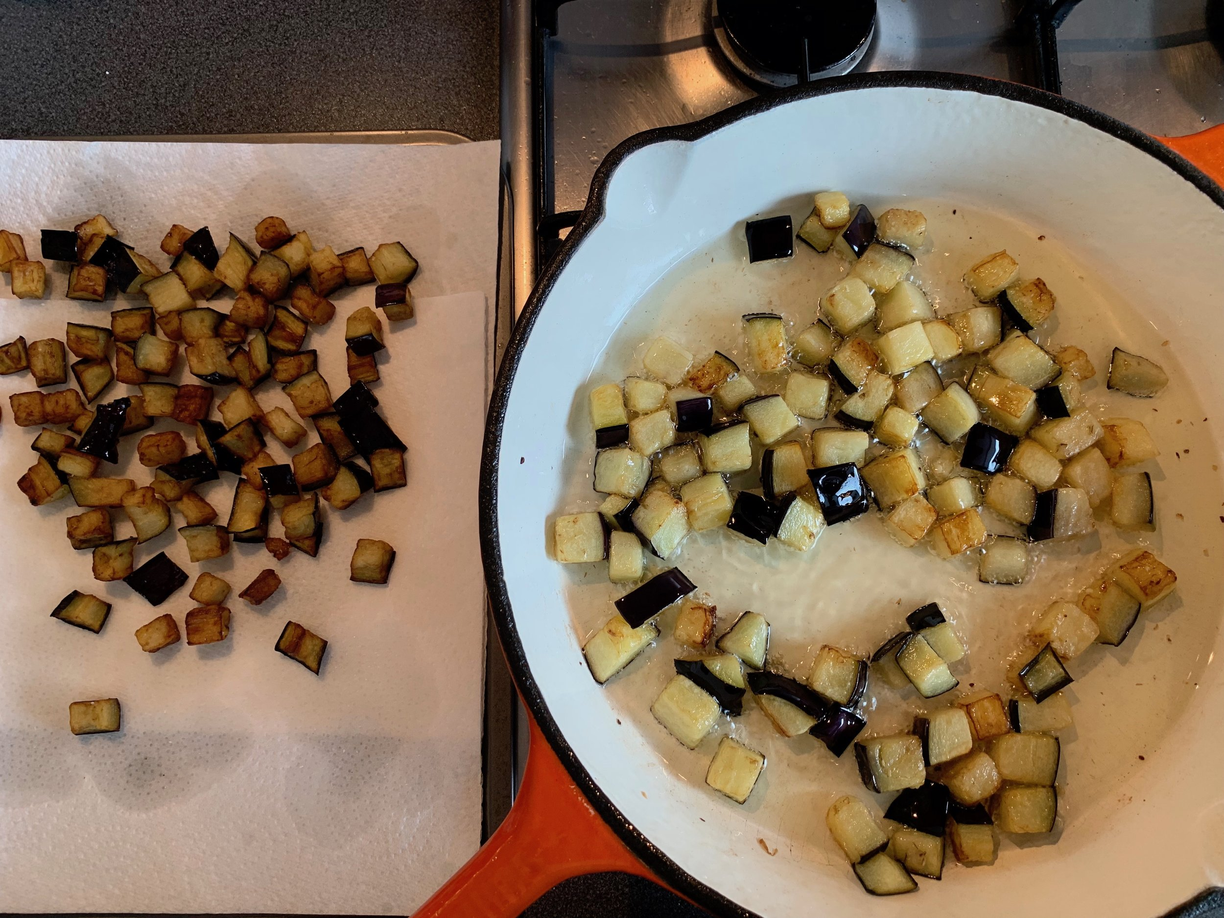 Frying eggplant for caponata
