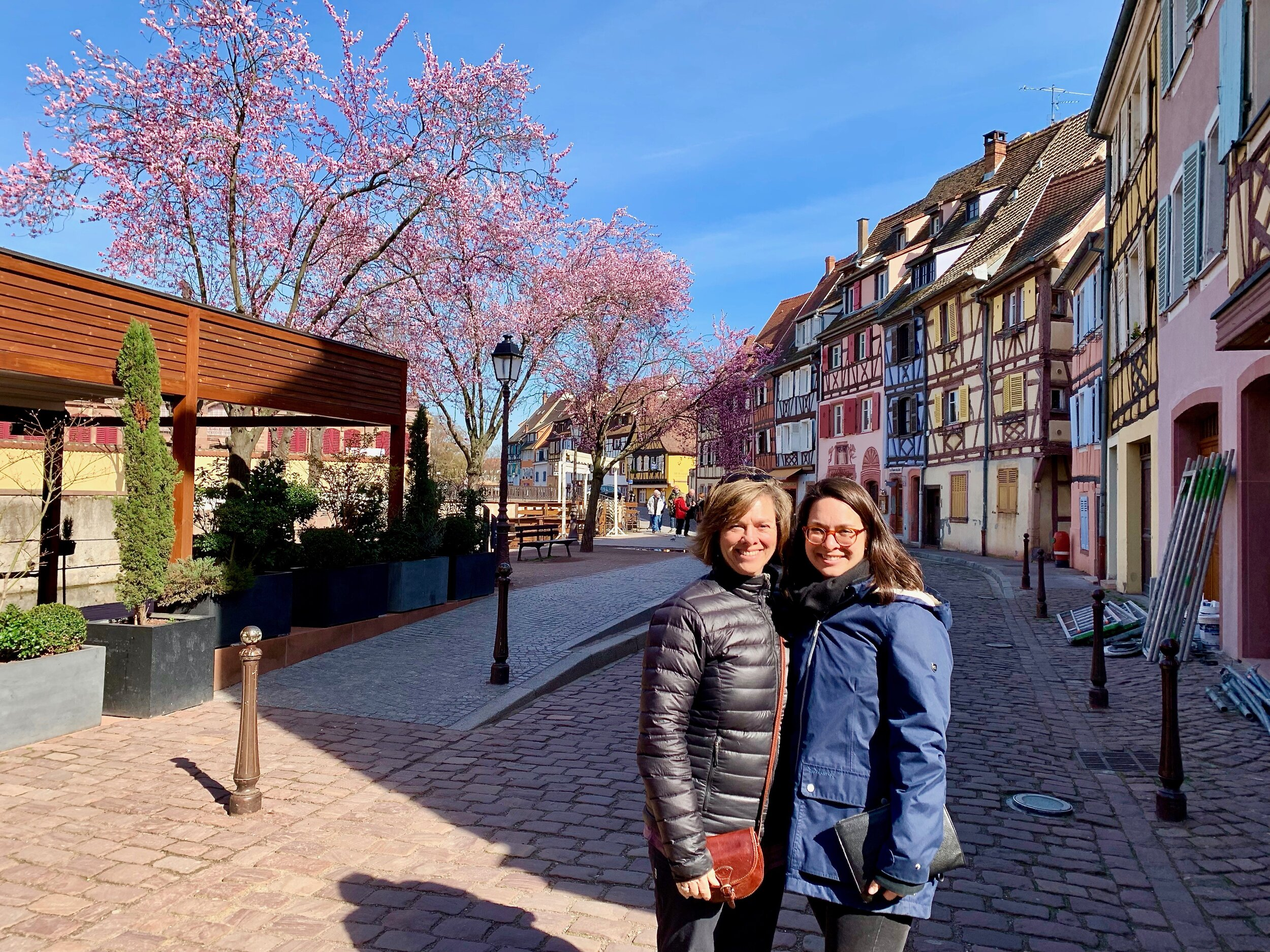 Betsy and Chelsea on the streets of Colmar in the Alsace region of France