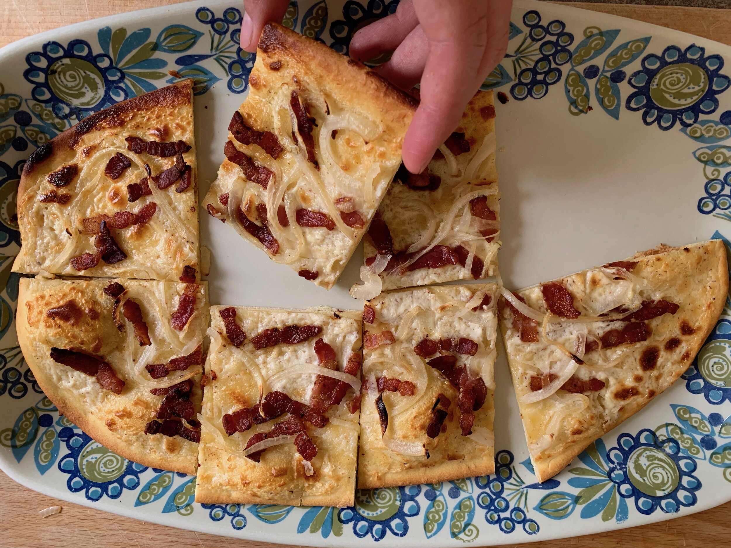 Tarte flambée is a perfect dinner party appetizer