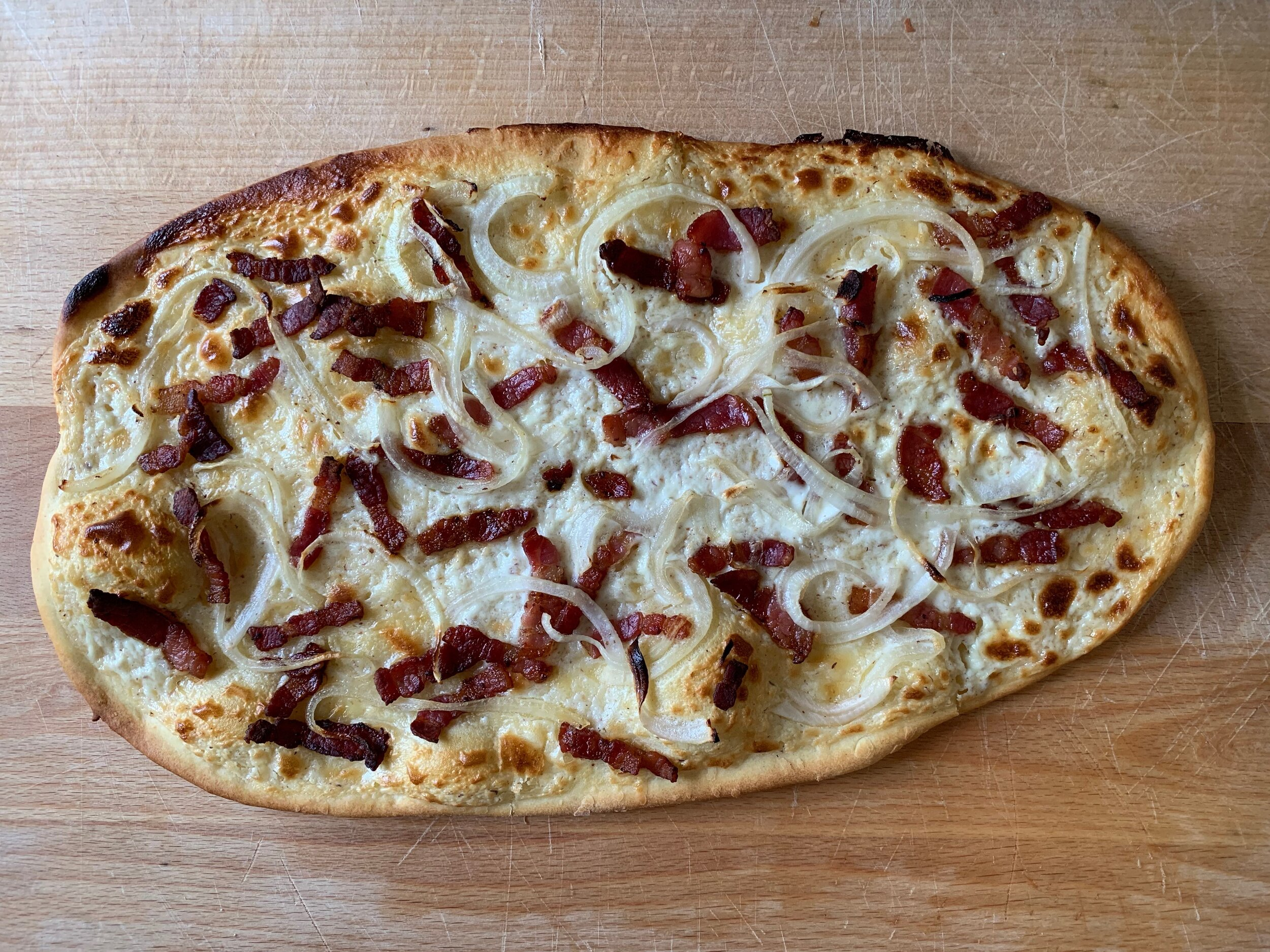 Finished tarte flambée. All that's missing is a glass of riesling!