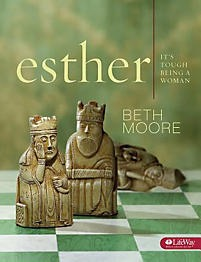 Esther: It's Tough Being a Woman - Member Book  by  Beth Moore  provides a personal study experience five days a week plus viewer guides for the group video sessions of this in-depth women's Bible study of Esther - a profile in courage. Join Beth in a very personal examination of this great story of threat and deliverance as she peels back the layers of history and shows how very contemporary and applicable the story of Esther is to our lives today.  If you've ever felt inadequate, threatened, or pushed into situations that seemed overpowering, this is the Bible study for you. Just as it was tough being a woman in Esther's day, it's tough today. This portion of God's Word contains treasures to aid us in our hurried, harried, and pressured lives.   The Member Book includes:   9 weeks of personal interactive study for five days a week  Viewer guide for use with the DVD teaching sessions  Hamantashen (Haman's Ears) Cookie Recipe  PURIM Record Chart   Author:  Known for presenting Scripture in living color, Christian speaker and Bible study author  Beth Moore  enjoys getting to serve women of every age and denomination, and she is passionate about women knowing and loving the Word of God. Beth's broad collection of LifeWay women Bible studies covers relevant topics from believing God to be Who He says He is to loving difficult people. Each in-depth study guides you on your faith journey. Beth and husband Keith praise God for over 30 years of marriage. They enjoy traveling, hiking, drinking coffee on the back porch, eating Mexican food, making each other laugh, walking their dogs, and being grandparents.