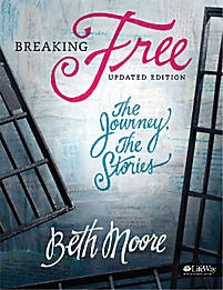 Breaking Free: The Journey, The Stories - Member Book  by  Beth Moore  leads you through a study of the Scriptures to discover the transforming power of freedom in Jesus Christ. Themes for this study come from Isaiah, a book about the captivity of God's children, the faithfulness of God, and the road to freedom.  This in-depth women's Bible study draws parallels between the captive Israelites of the Old Testament and New Testament believers in Jesus as the Promised Messiah. Beth looks at the Book of Isaiah through the lives of the kings who ruled during the prophet's ministry. These kings exemplify many of the obstacles to freedom with which we must deal. Using Scripture to help identify spiritual strongholds in your life, no matter how big or small, Beth explains that anything that hinders us from the benefits of knowing God is bondage.  Join Beth Moore on a Bible journey unlike any other. God intends for you to know and believe Him, glorify Him, experience His peace, and enjoy His presence. Breaking Free is Beth's life message that she wants to share with you. Taped live at Franklin Avenue Baptist Church in New Orleans, this study includes testimonies of how women like you have found freedom and have been delivered from personal captivity.   The Member Book Includes:   10 weeks of personal interactive study for five days a week  10 Scripture Memory Cards  Viewer guide for use with the DVD teaching sessions   Author:  Known for presenting Scripture in living color, Christian speaker and Bible study author  Beth Moore  enjoys getting to serve women of every age and denomination, and she is passionate about women knowing and loving the Word of God. Beth's broad collection of LifeWay women Bible studies covers relevant topics from believing God to be Who He says He is to loving difficult people. Each in-depth study guides you on your faith journey. Beth and husband Keith praise God for over 30 years of marriage. They enjoy traveling, hiking, drinking coffee on the back porch, eating Mexican food, making each other laugh, walking their dogs, and being grandparents.