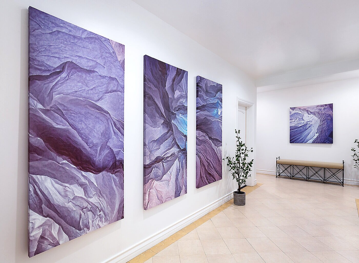 New:   Ceremonial Hallways,  2019. Canvas panels, 6'x4' at The Classic, Beverly Hills, CA.