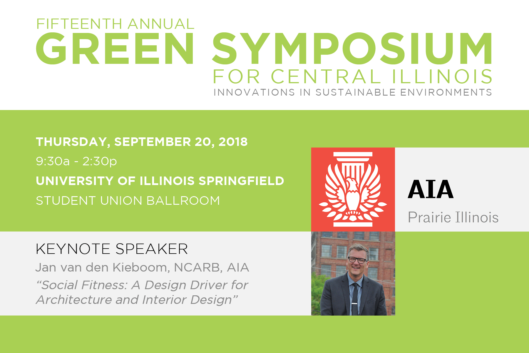 Workshop Principal & Founder To Be Keynote Speaker for AIA IL Green Symposium
