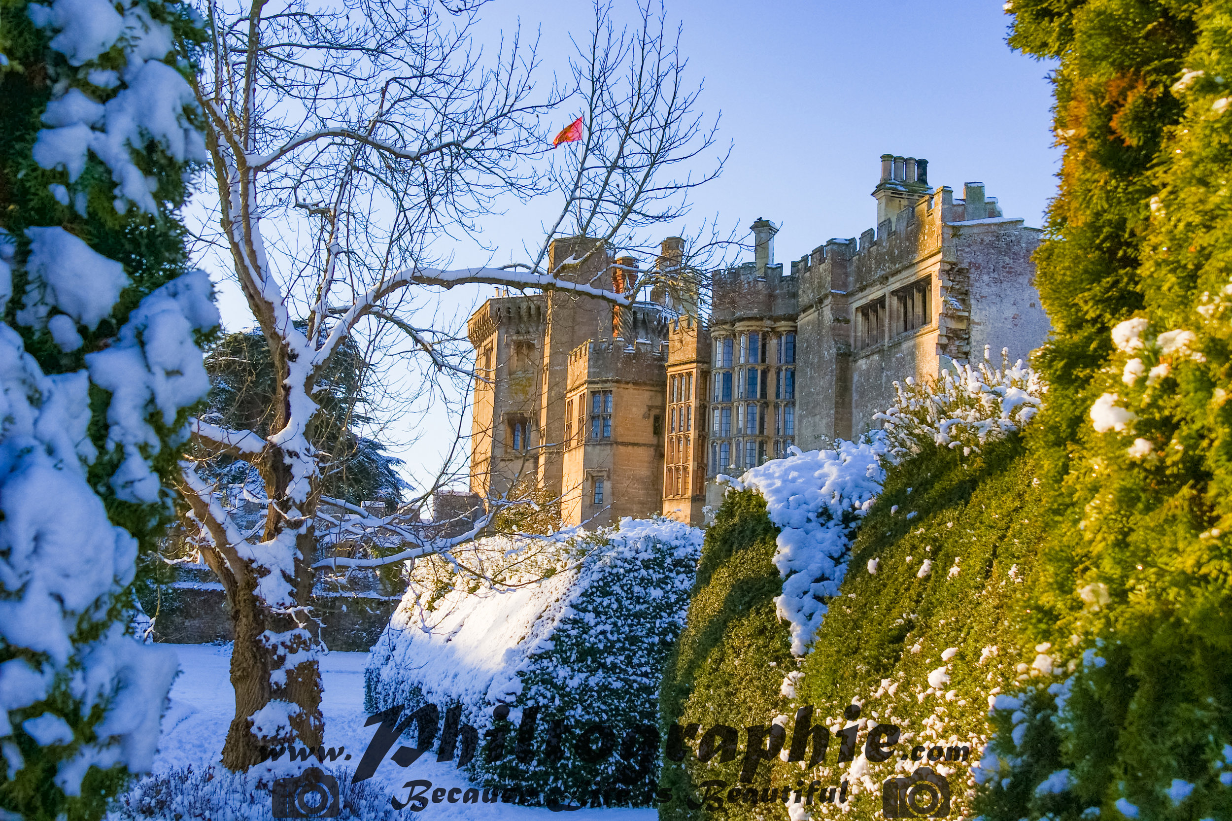 Thornbury Castle, Gloucestershire in the snow. Beautiful locations for a wedding