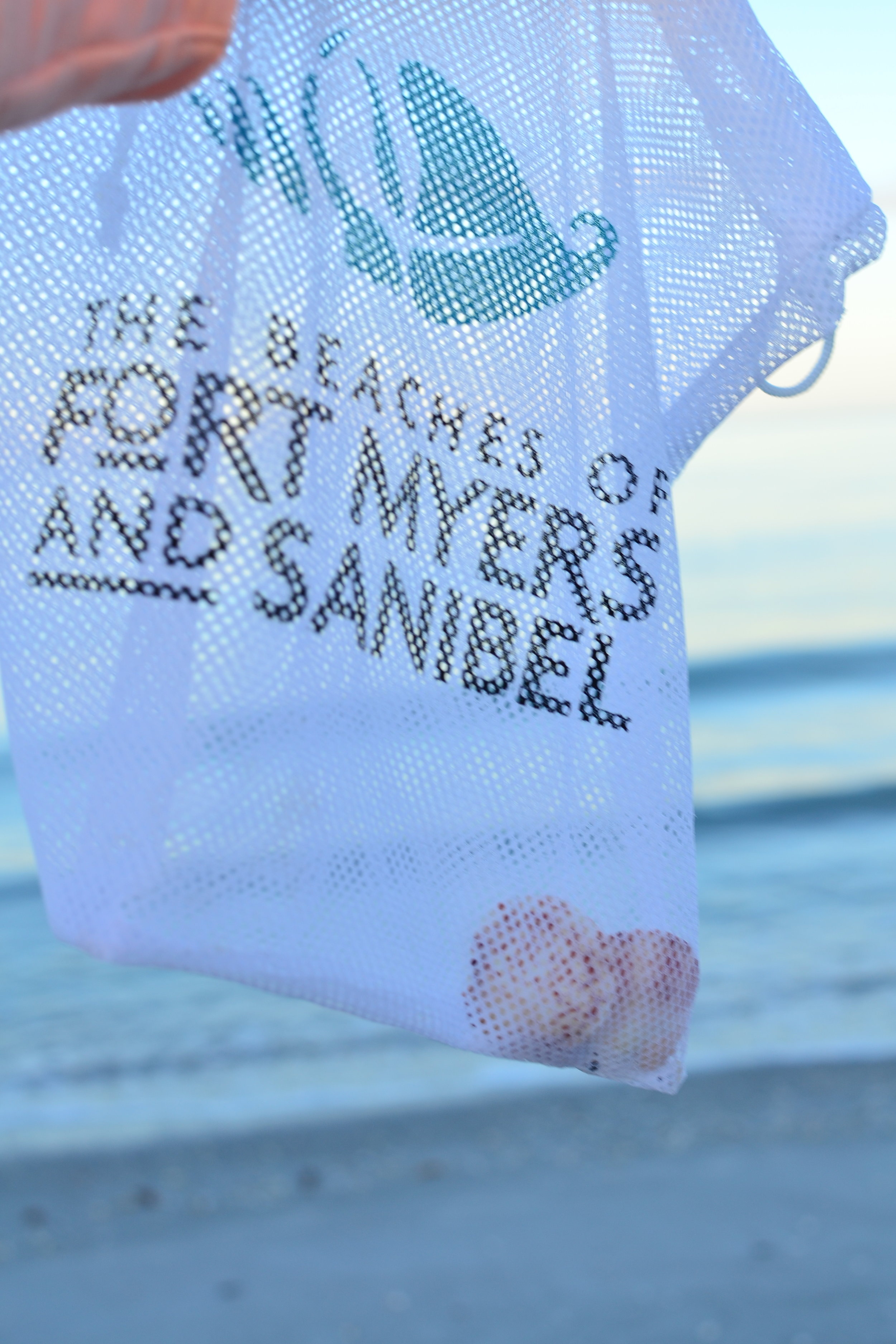 Mesh Bag for collection seashells in Sanibel and Captiva Island