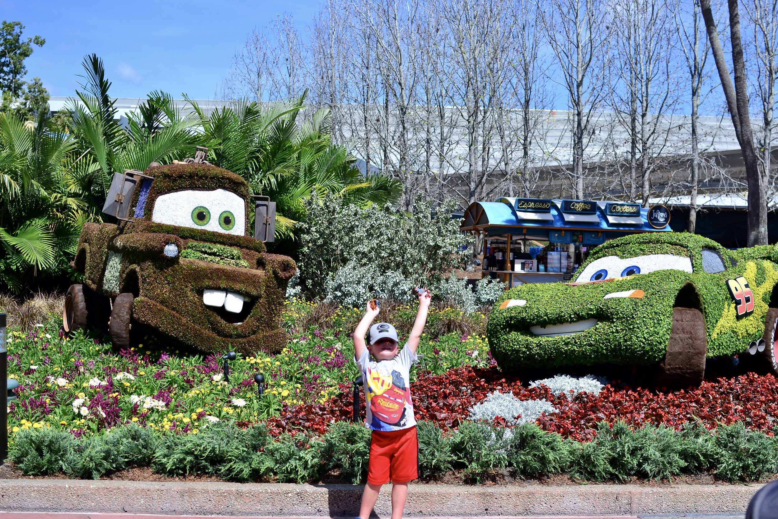 Cars topiaries flower and garden