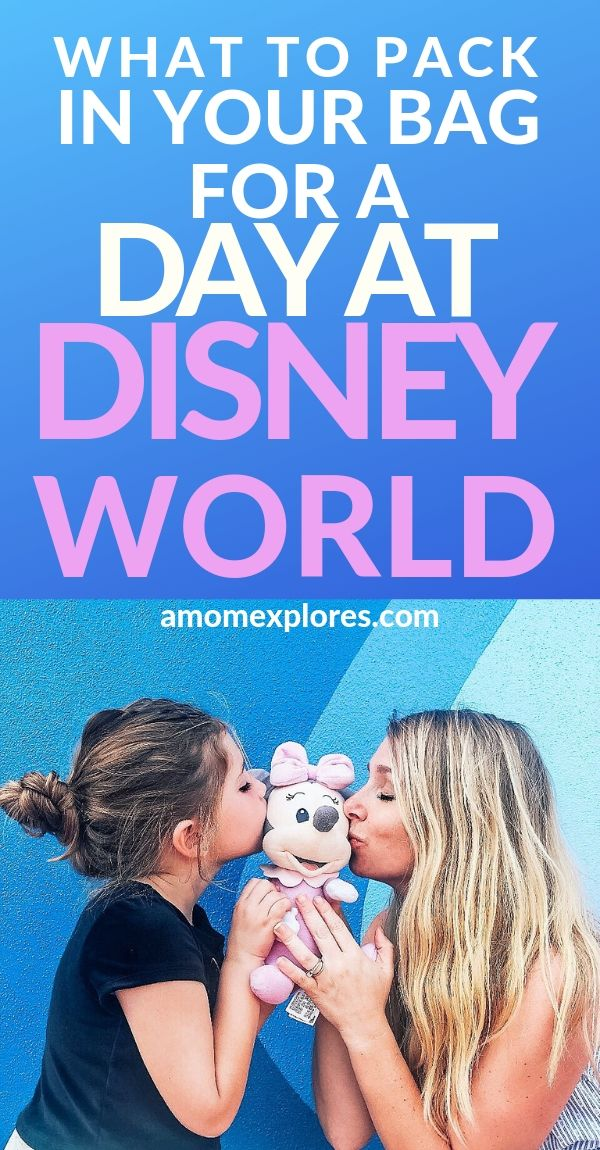 What to bring in a day pack for Disney. Survive long days in a theme park with little kids with this packing list for Disney with a toddler. Everything you need in your bag for a day at the parks!.jpg