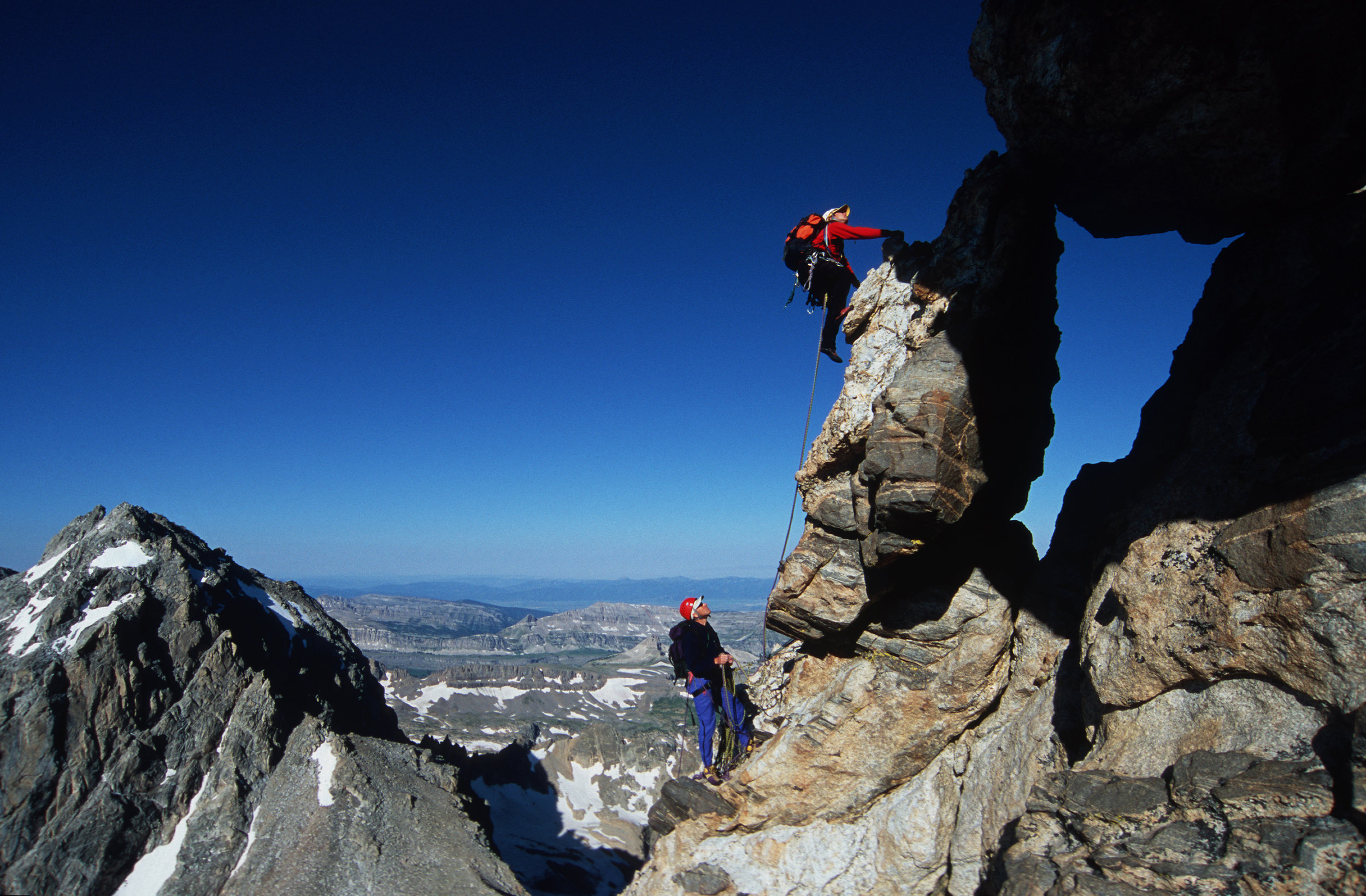 Doug leads the window pitch of the Petzoldt Ridge on the Grand Teton. By  David Gonzales.