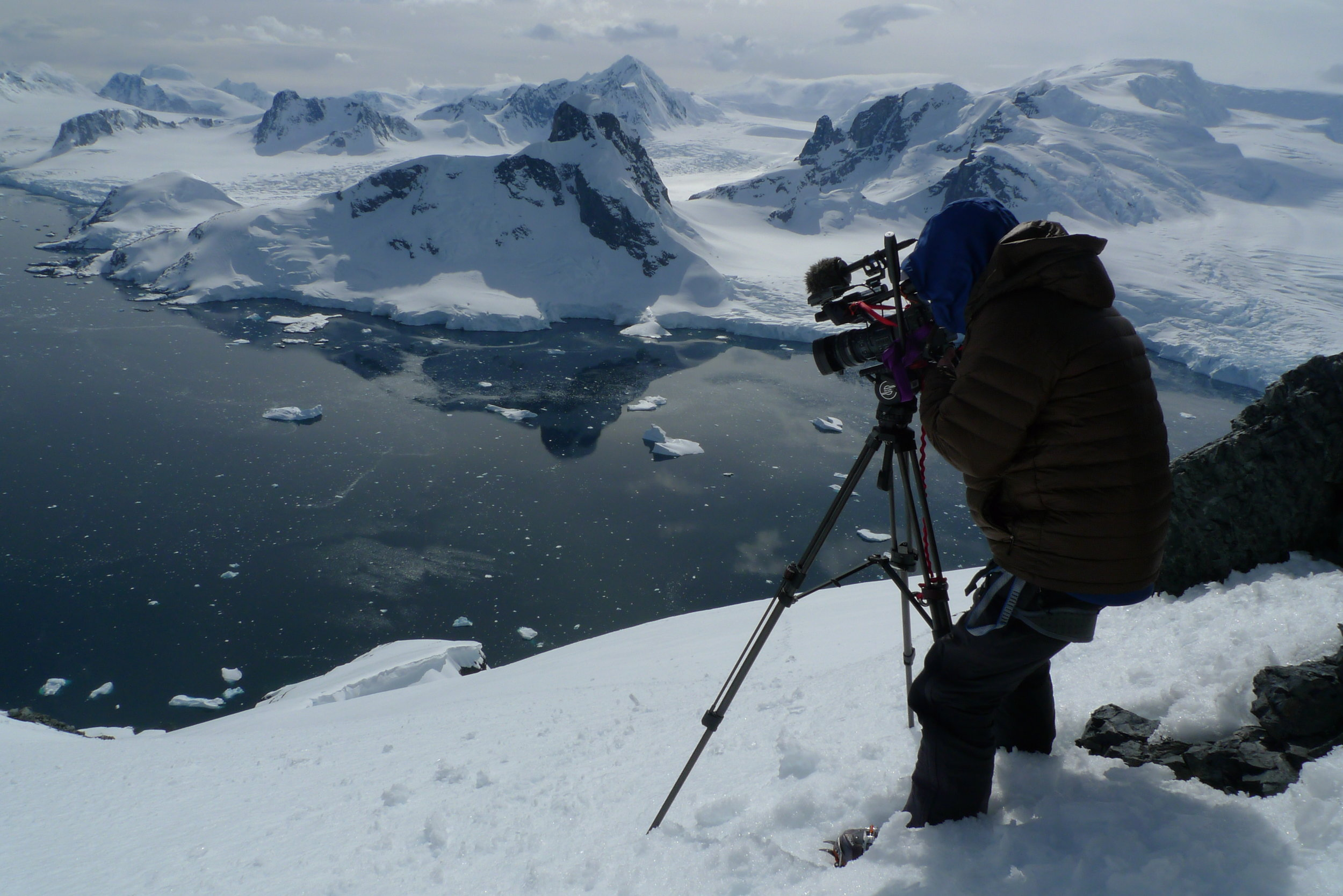 "Jim Surette, shooting for the film ""Australis"" on the Antarctic Peninsula.."