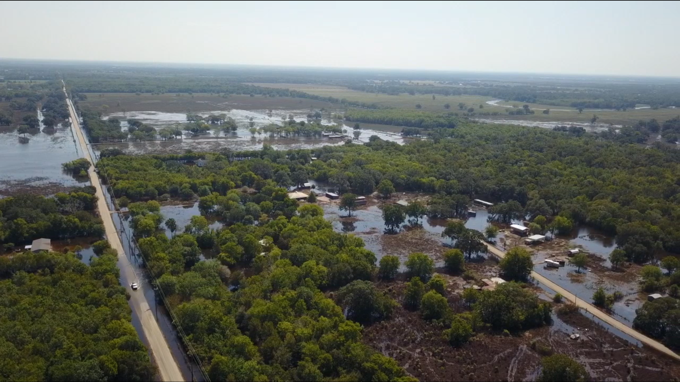 This drone footage was taken in the Angleton area...two weeks after Harvey and the flood waters were barely starting to recede.