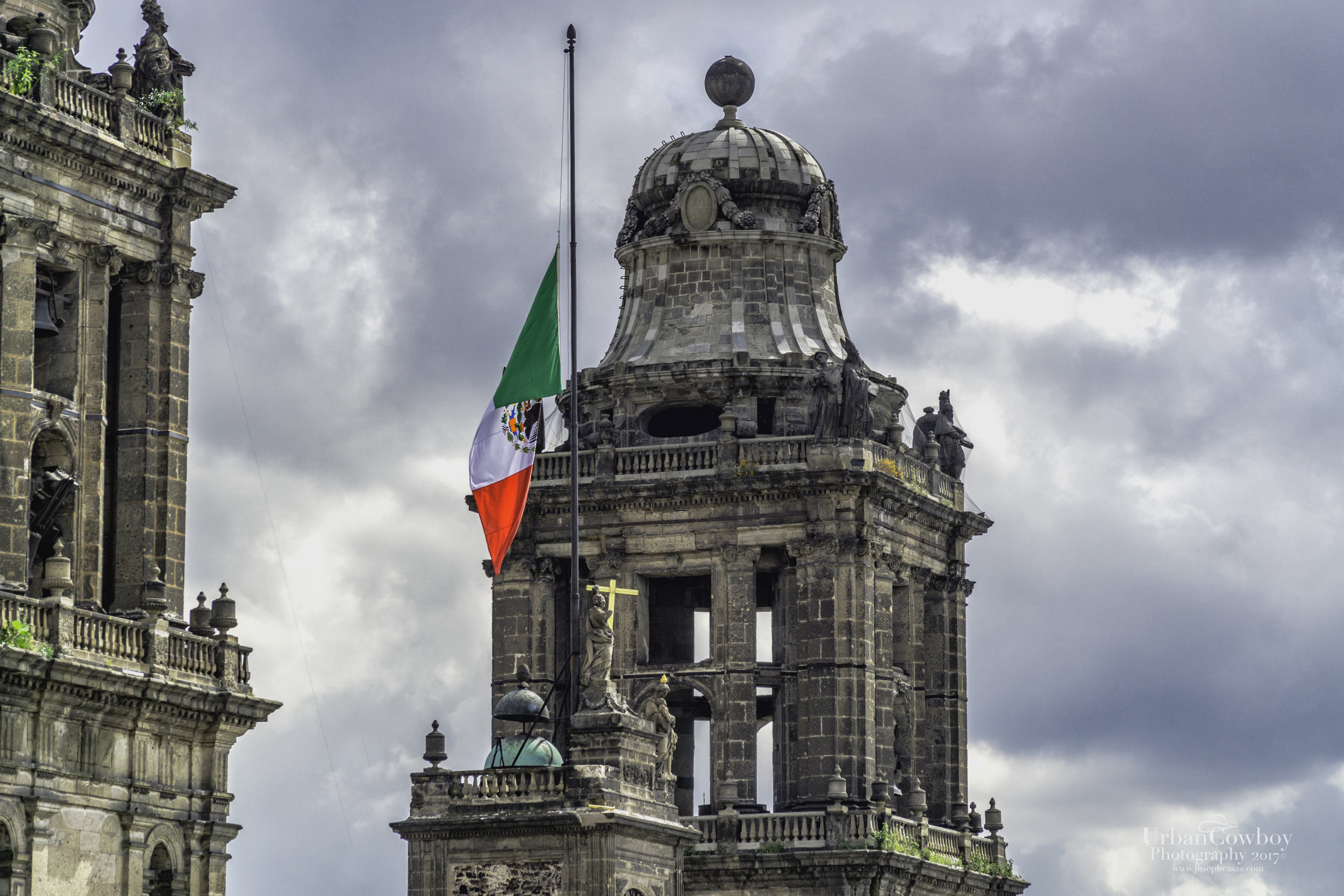Mexican Flags At Half Mast - Mexico Cathedral