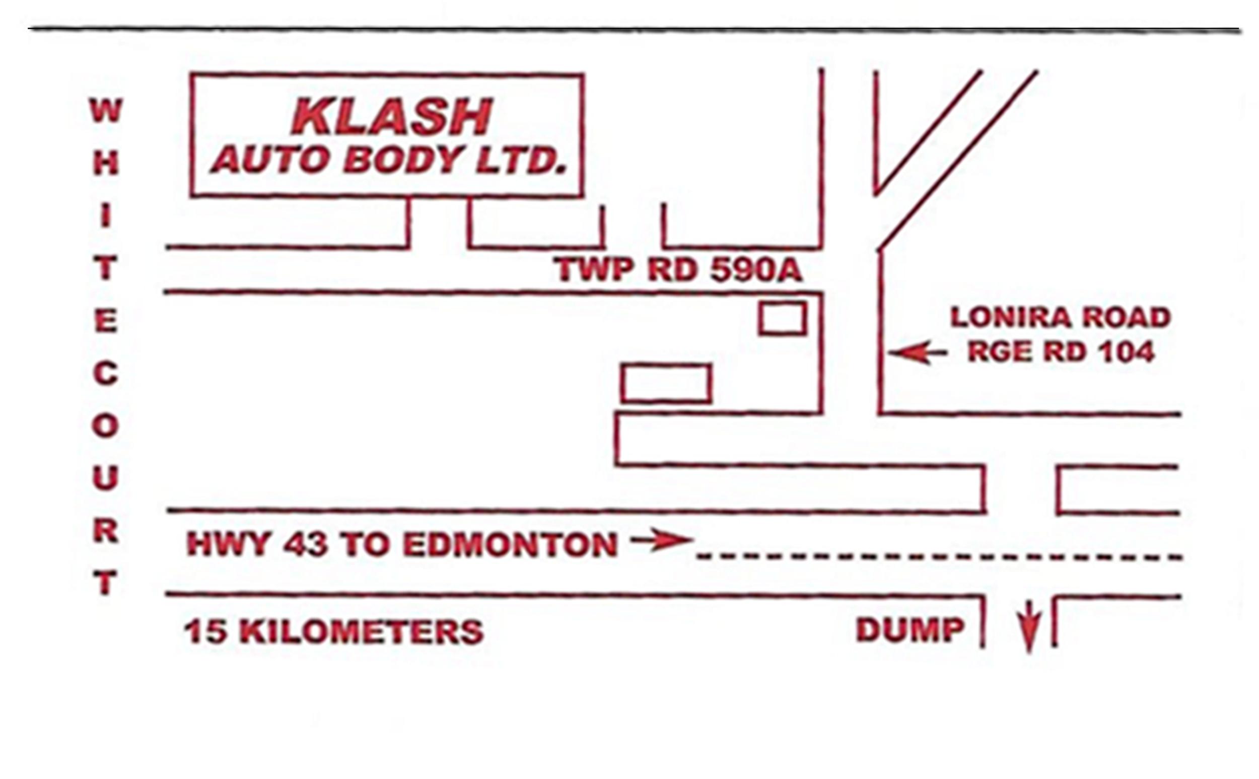 Klash Auto Body | Location Map | Whitecourt AB