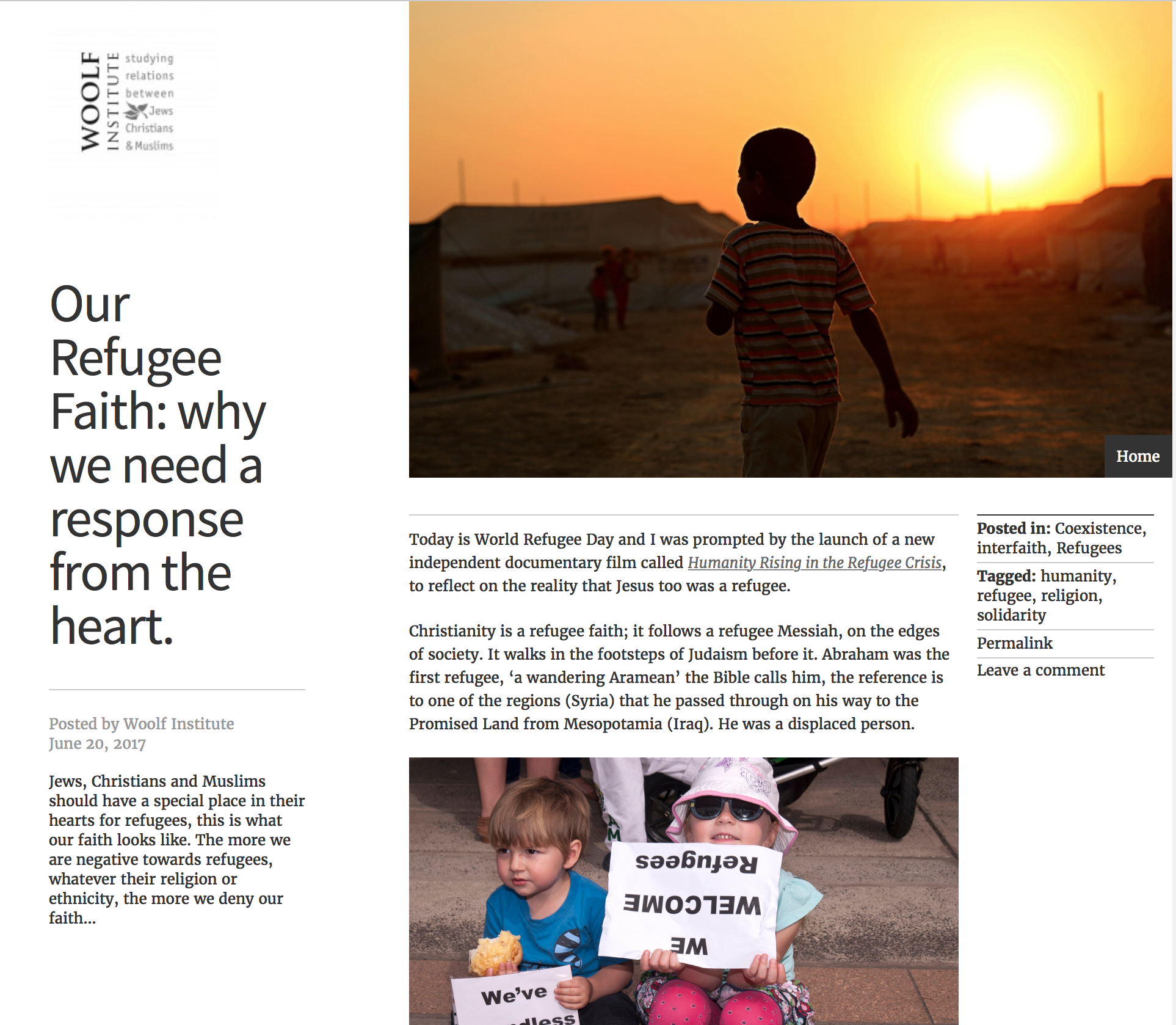 Woolf Institute -  Our Refugee Faith