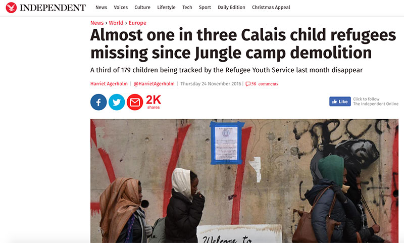 Almost one in three Calais child refugees missing