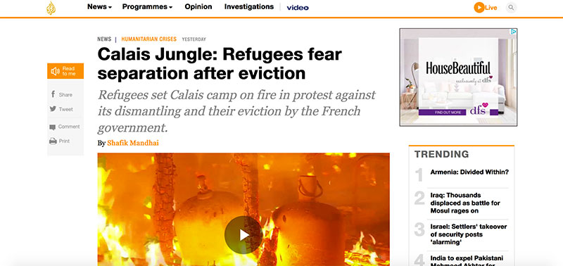 Al Jazeera News on The Jungle Calais