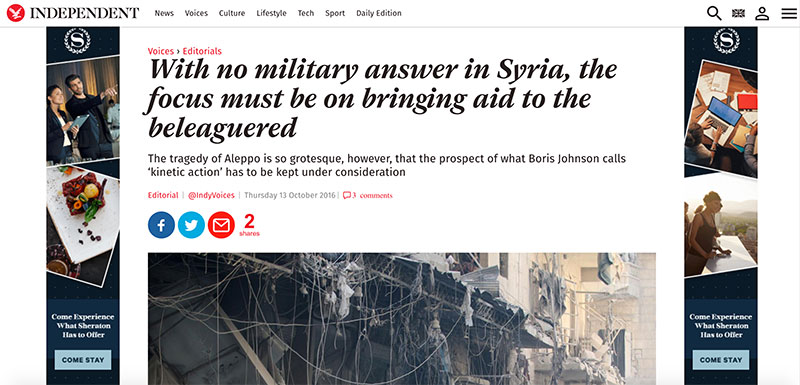 Independent news story on Aleppo