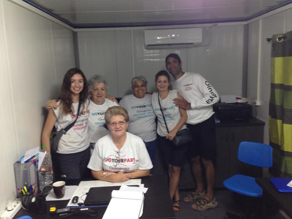Lisa Campbell and her amazing volunteer team in Oinifyta Greece