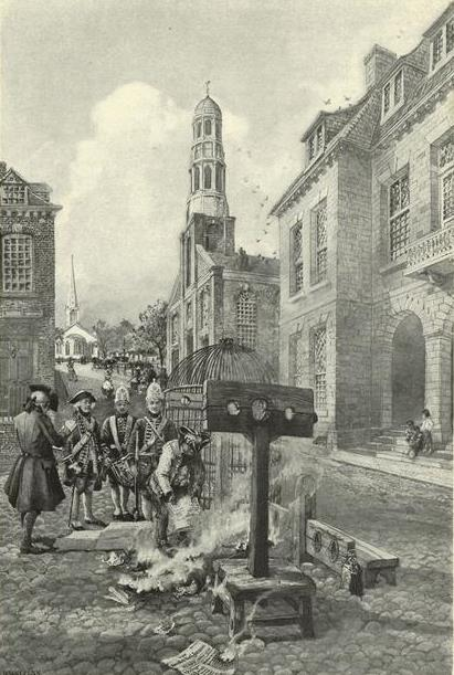 Illustration of the burning of the  New York   Weekly Journal  at the stockade in front of the colonial City Hall on Nov. 6, 1734.