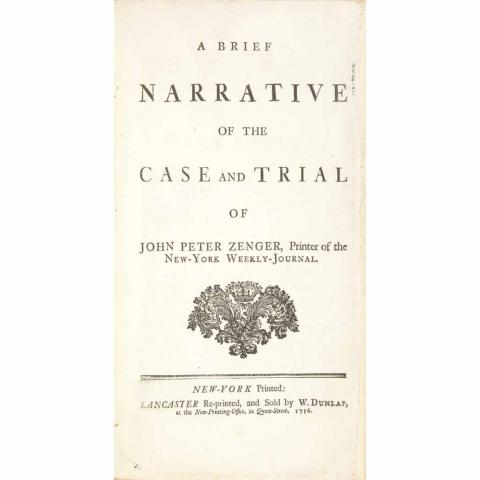 A Brief Narrative of the Case and Trial of John Peter Zenger
