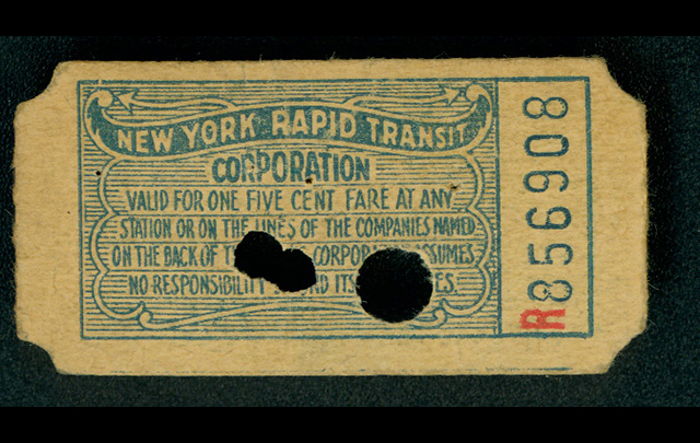A first subway ticket (five cents)