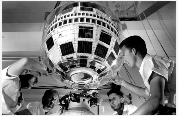 Engineers at work on the  Telstar 1 satellite  at NYC's Bell Labs