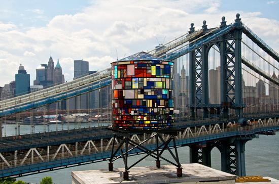 One of Tom Fruin's water tower sculptures near the Manhattan Bridge in DUMBO
