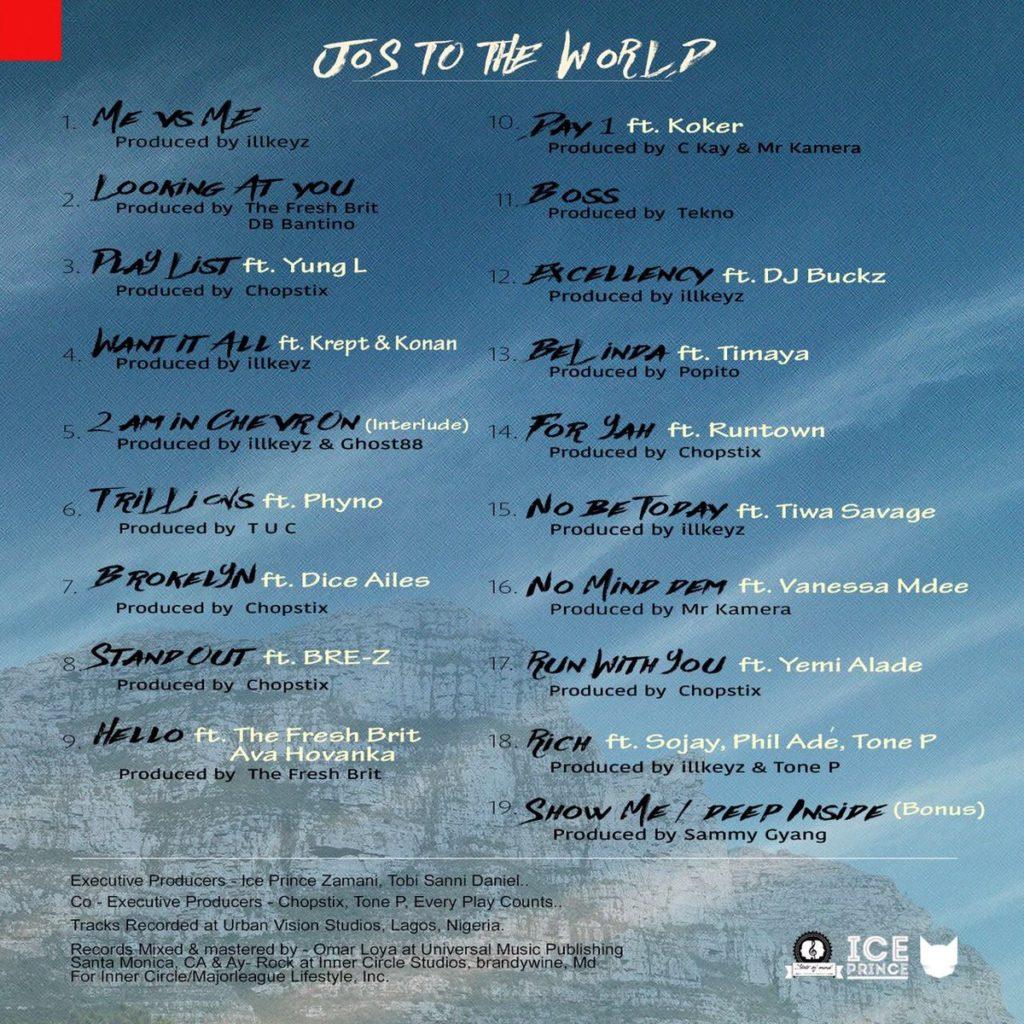"Ice Prince ""Jos To The World"" Tracklist"