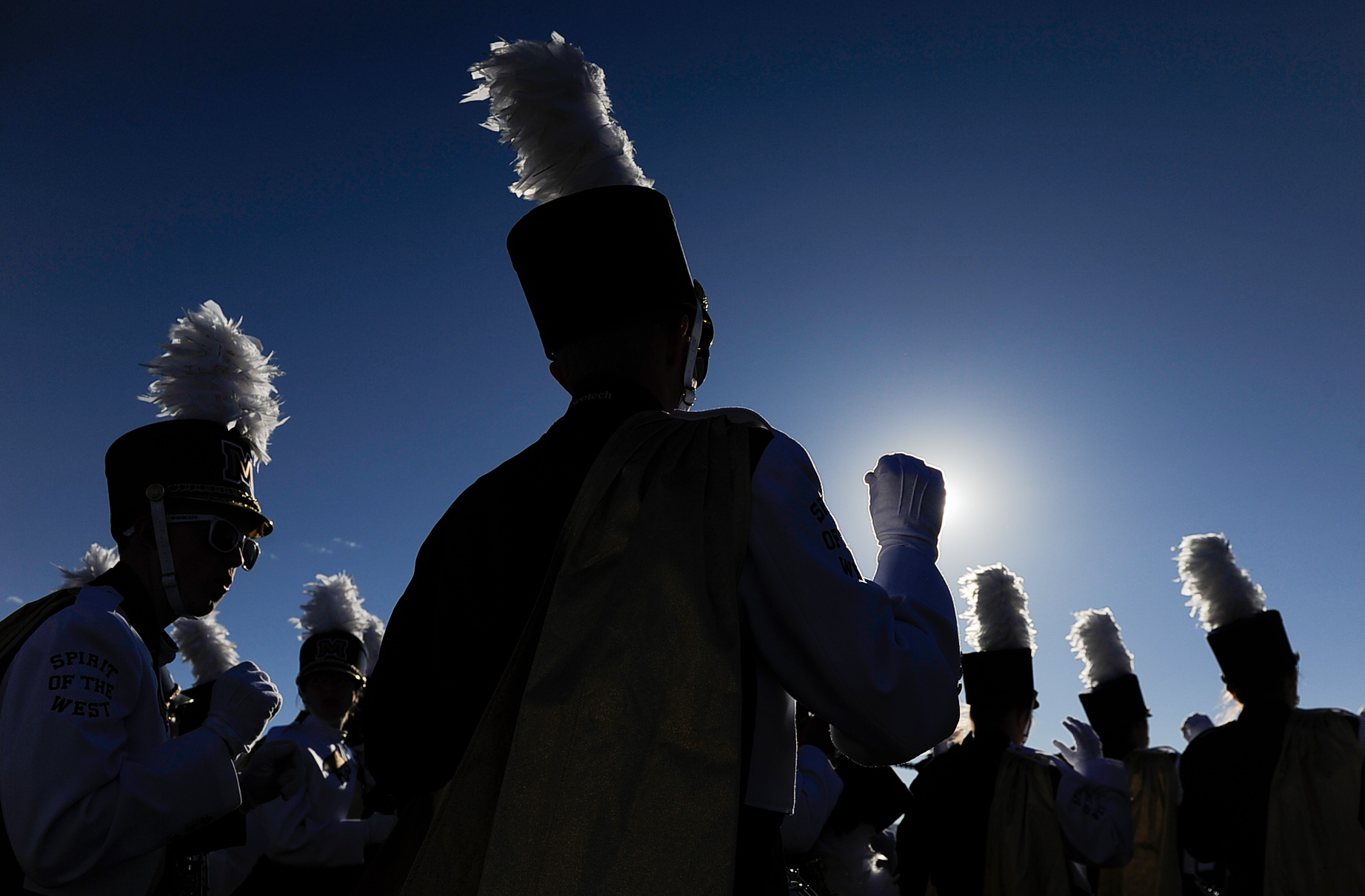 The Montana State Spirit of the West Marching band warms up prior to the start of an NCAA college football game in Bozeman, Mont. Saturday, Oct. 07, 2017.
