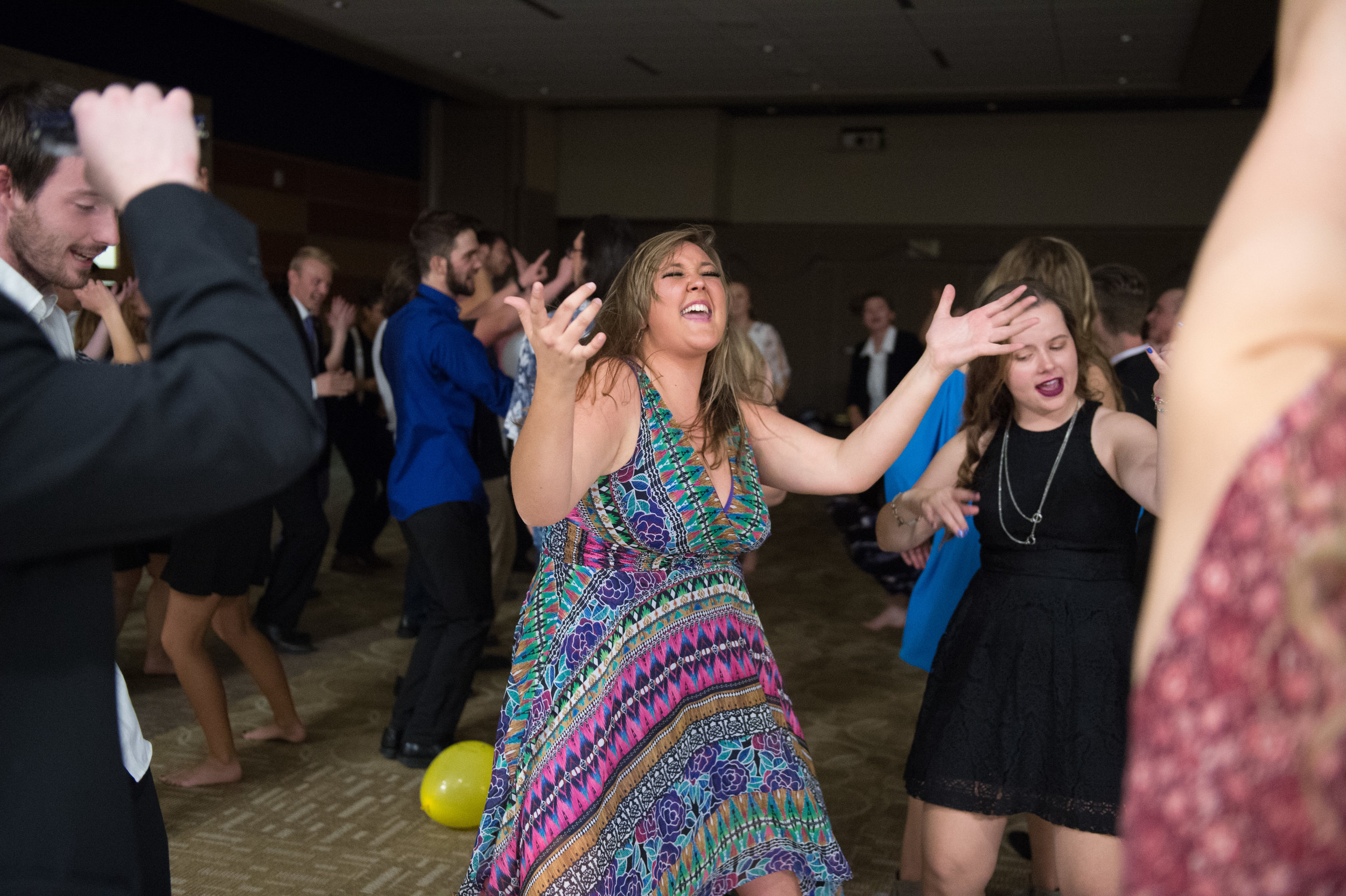Spirit of the West mellophone player Allie Doe, center, dances during the annual band banquet in Bozeman, Mont. Sunday, Nov. 19, 2017.